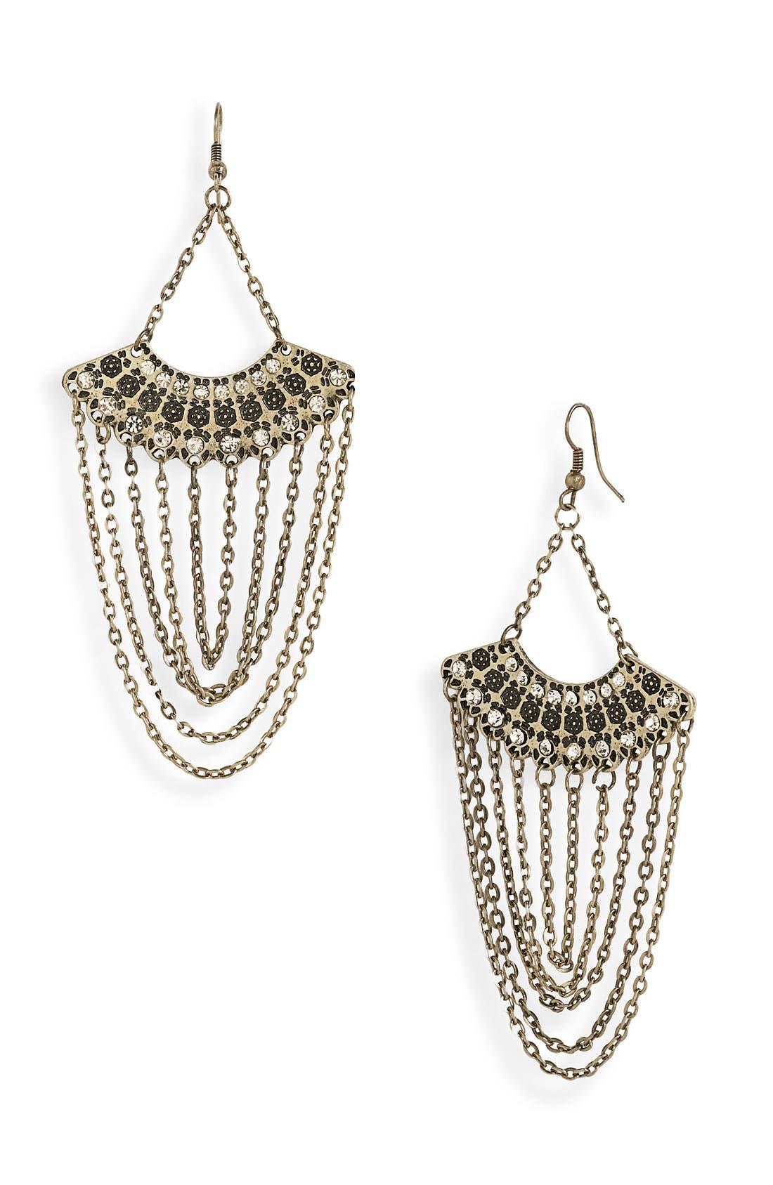 Main Image - Stephan & Co. Fan & Chain Earrings