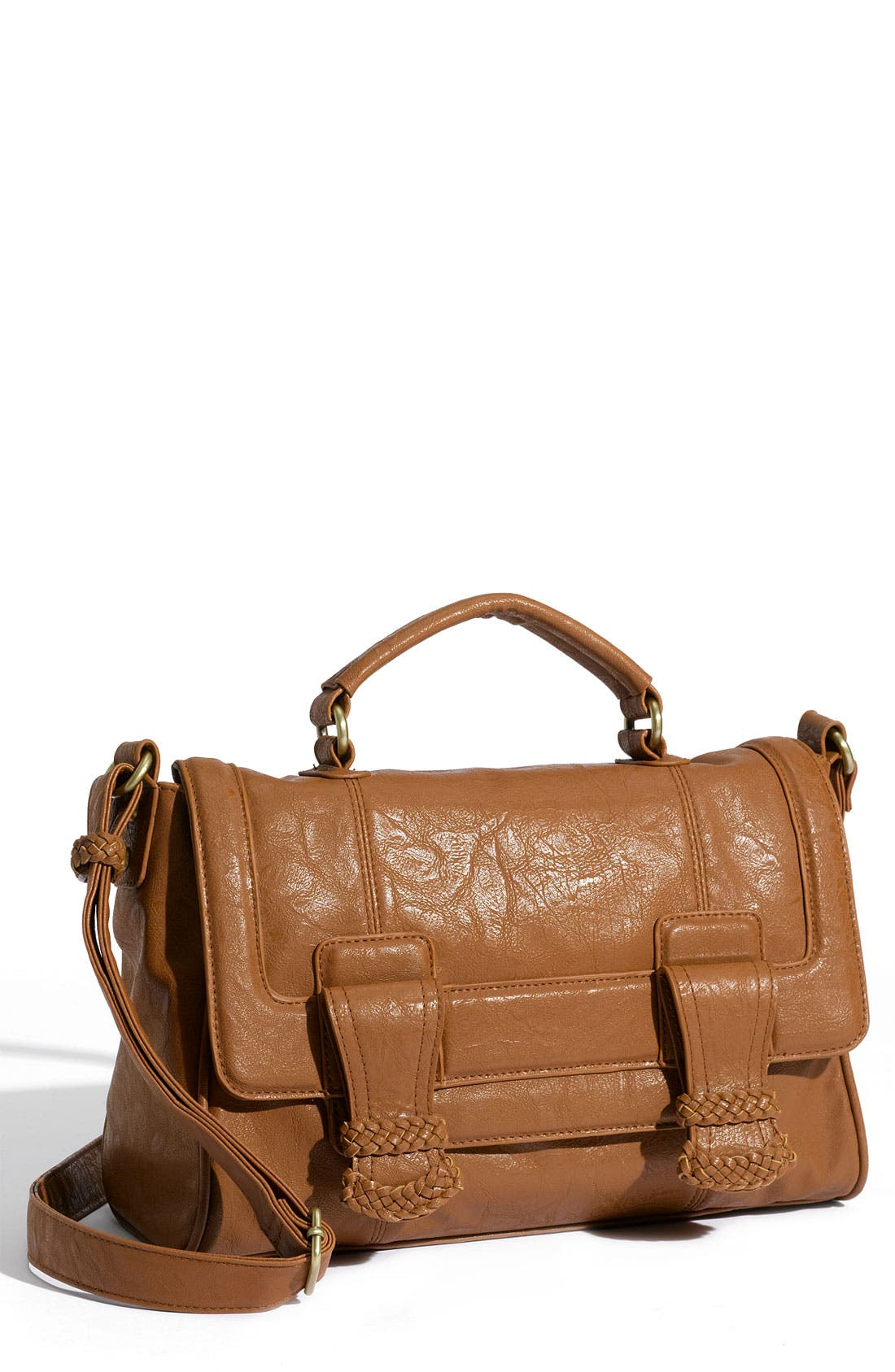 Main Image - Top Choice Crossbody Braid Trim Satchel