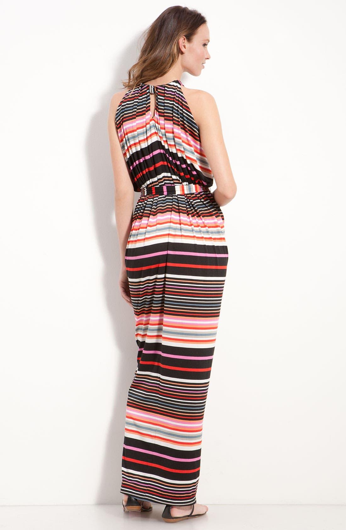 Alternate Image 2  - Suzi Chin for Maggy Boutique Stripe Jersey Halter Dress