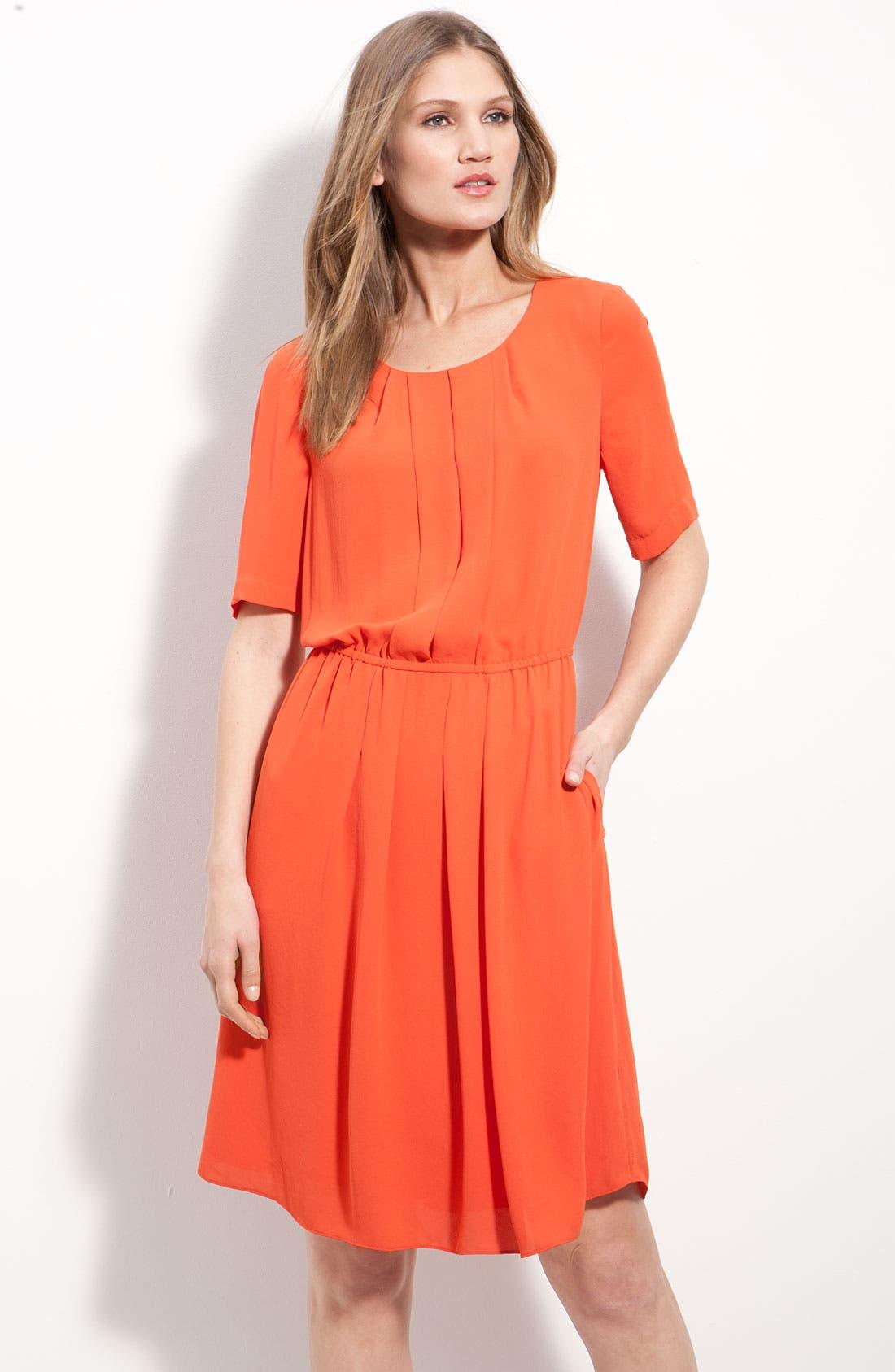 Main Image - BCBGMAXAZRIA Pleated Chiffon Dress