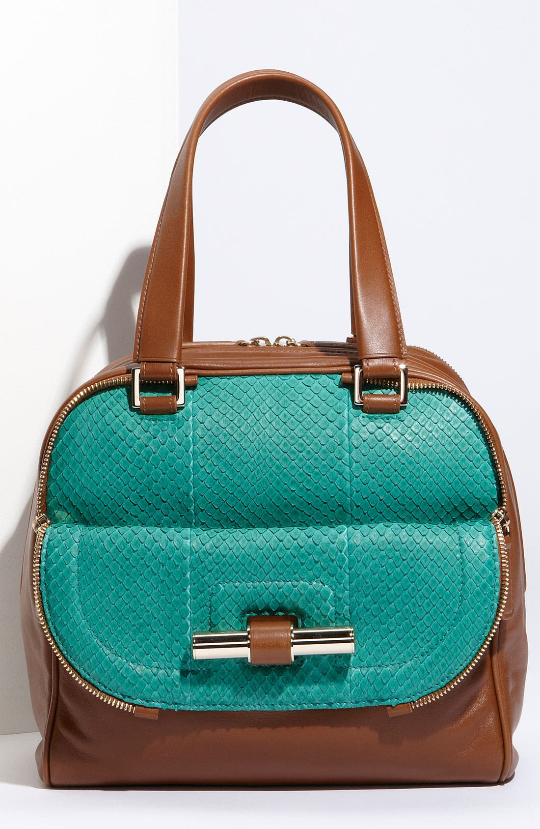 Main Image - Jimmy Choo 'Justine - Small' Leather & Genuine Anaconda Satchel