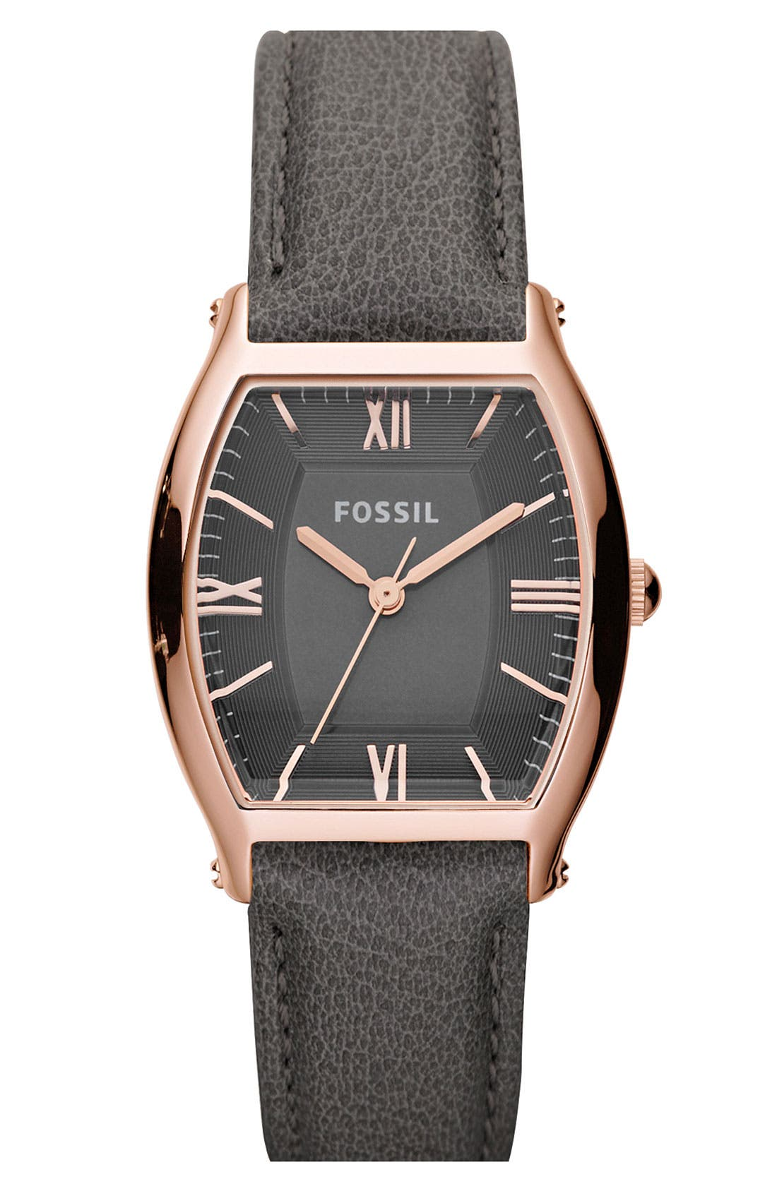 Main Image - Fossil 'Mini Wallace' Tonneau Leather Strap Watch, 28mm