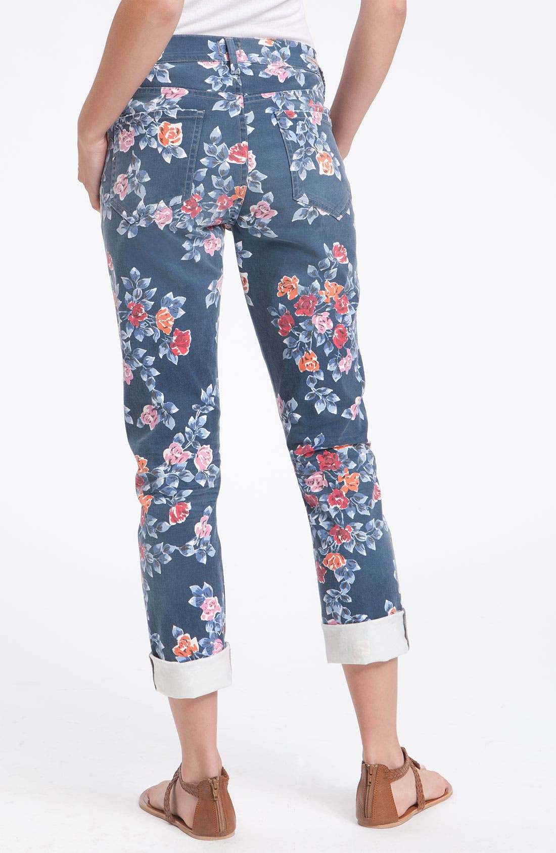 Main Image - Citizens of Humanity 'Mandy' High Waist Slim Leg Floral Print Jeans (Navy Petite Rose)
