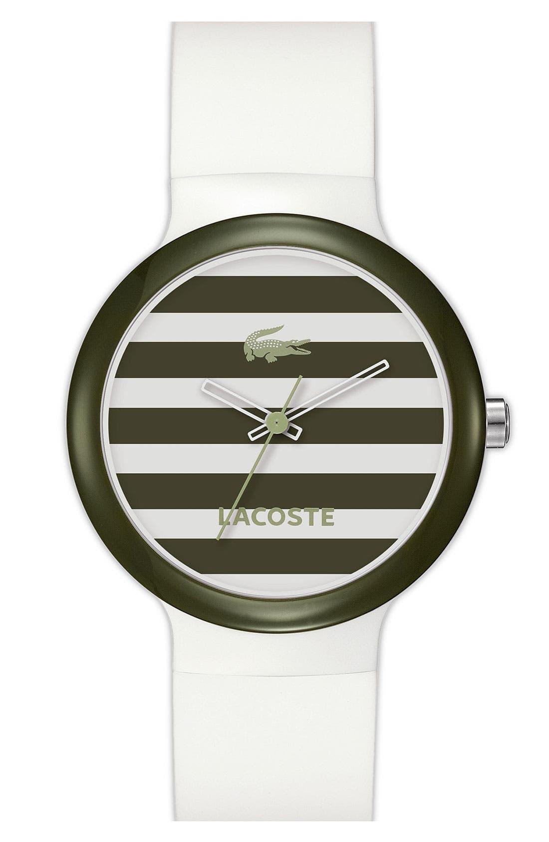 Main Image - Lacoste 'Goa' Stripe Silicone Strap Watch, 40mm