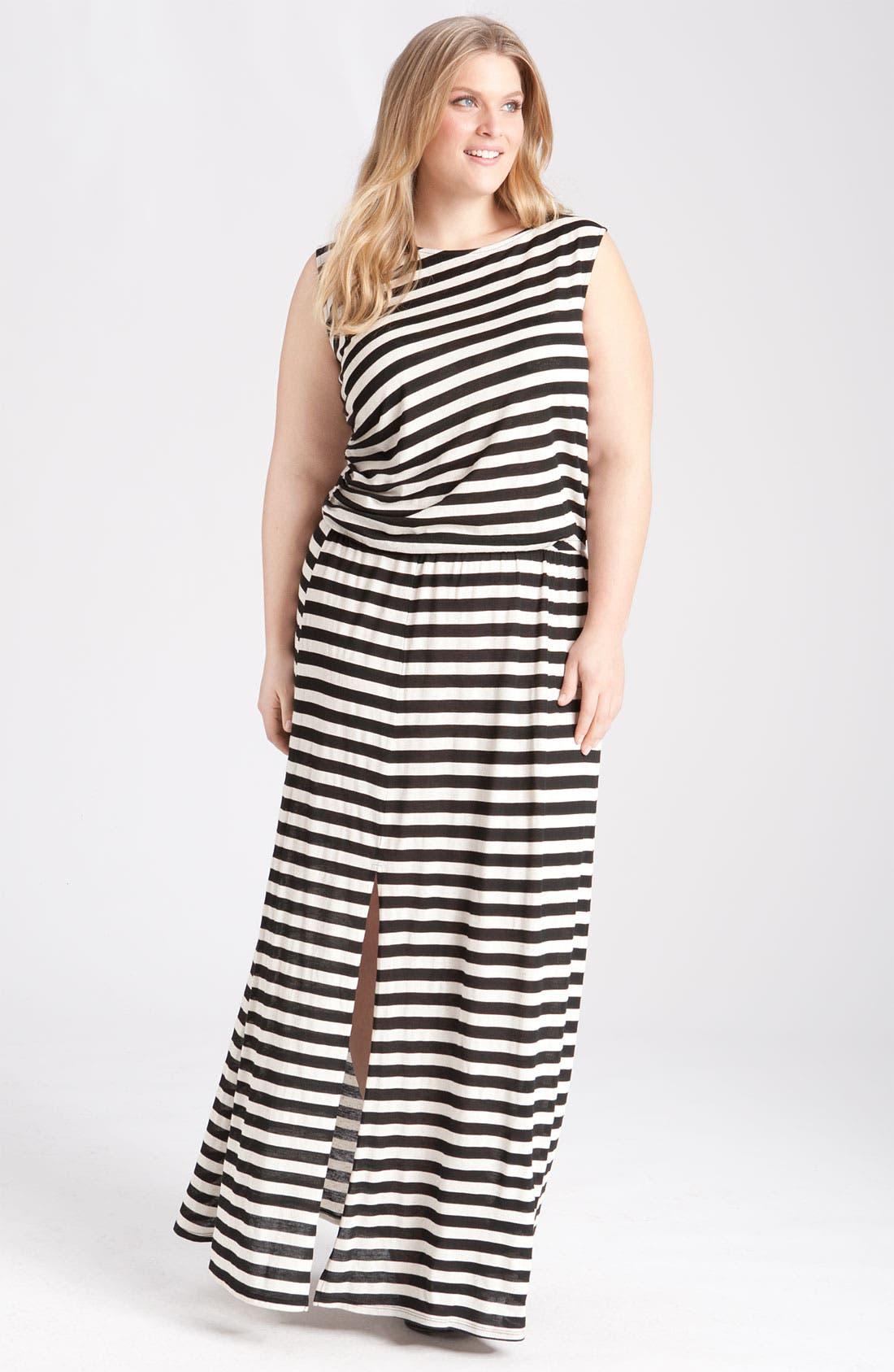 Alternate Image 1 Selected - Gibson Stripe Knit Maxi Dress (Plus)