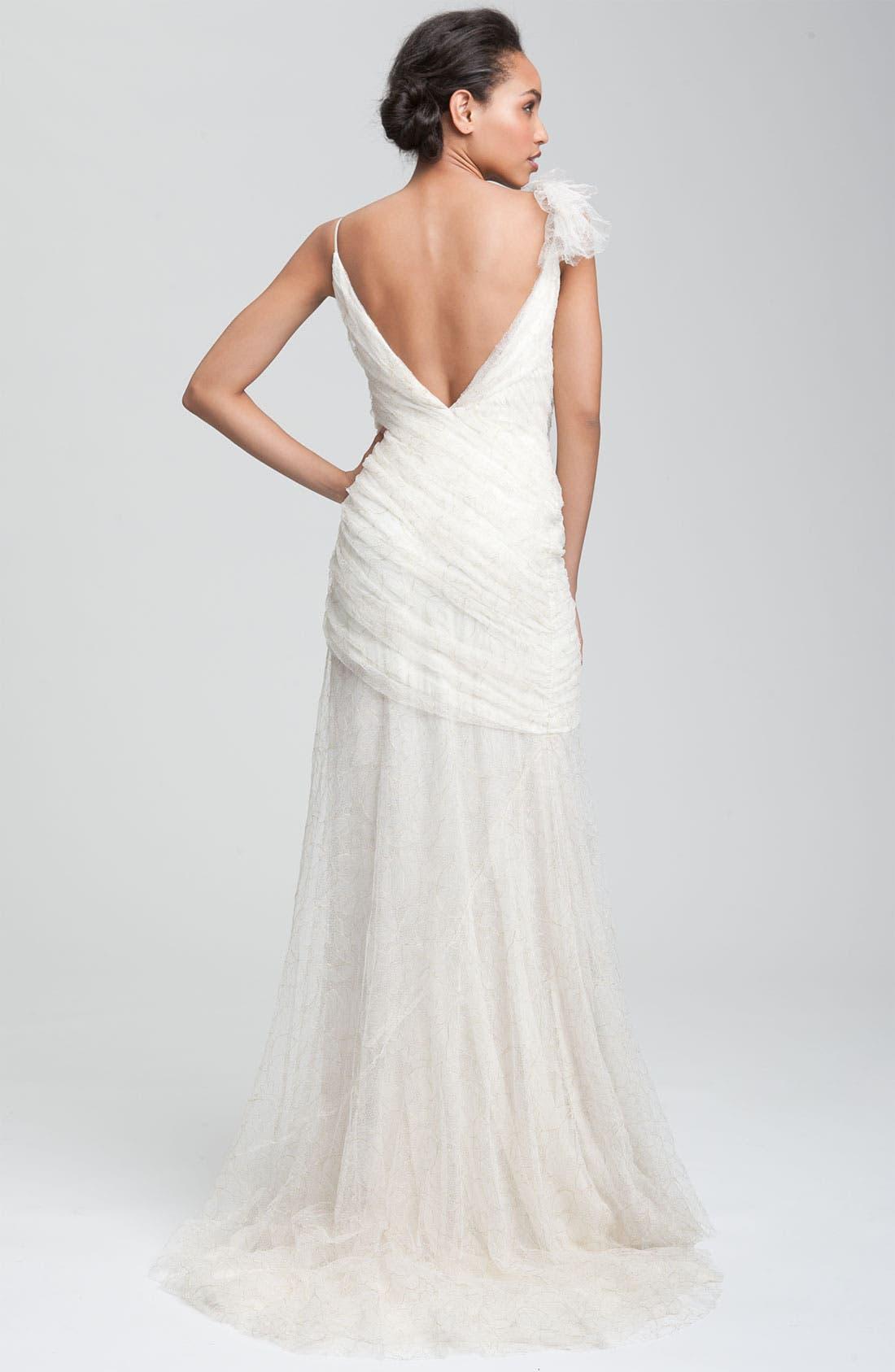 Alternate Image 3  - Carmen Marc Valvo Drape Bodice Tulle Gown
