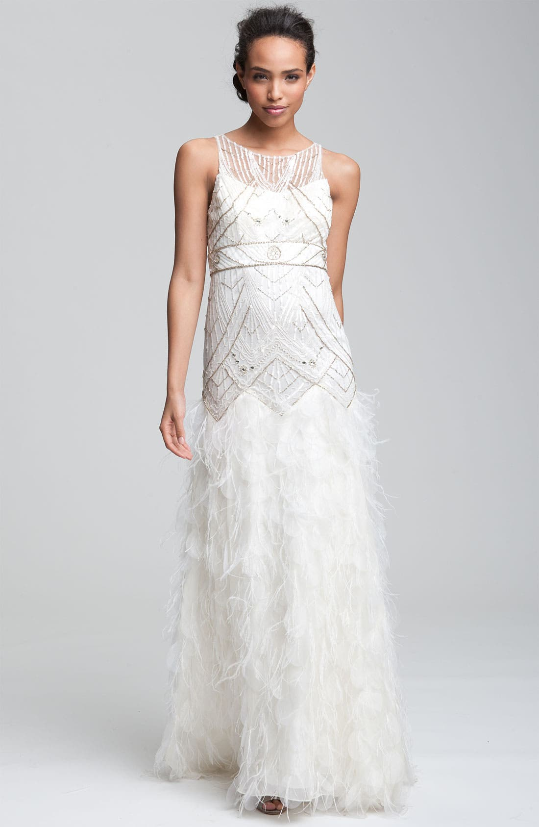 Main Image - Sue Wong 'Feather' Beaded Gown