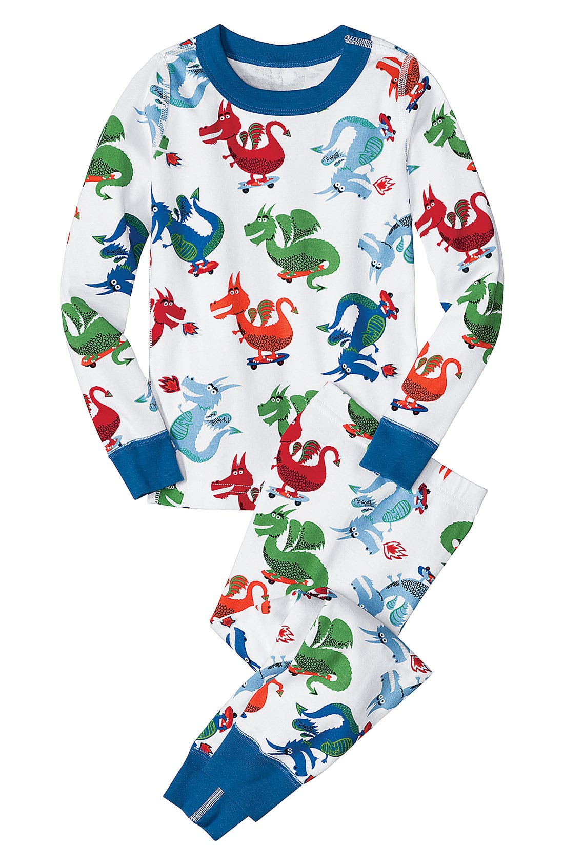 Alternate Image 1 Selected - Hanna Andersson Two Piece Fitted Pajamas (Little Boys)