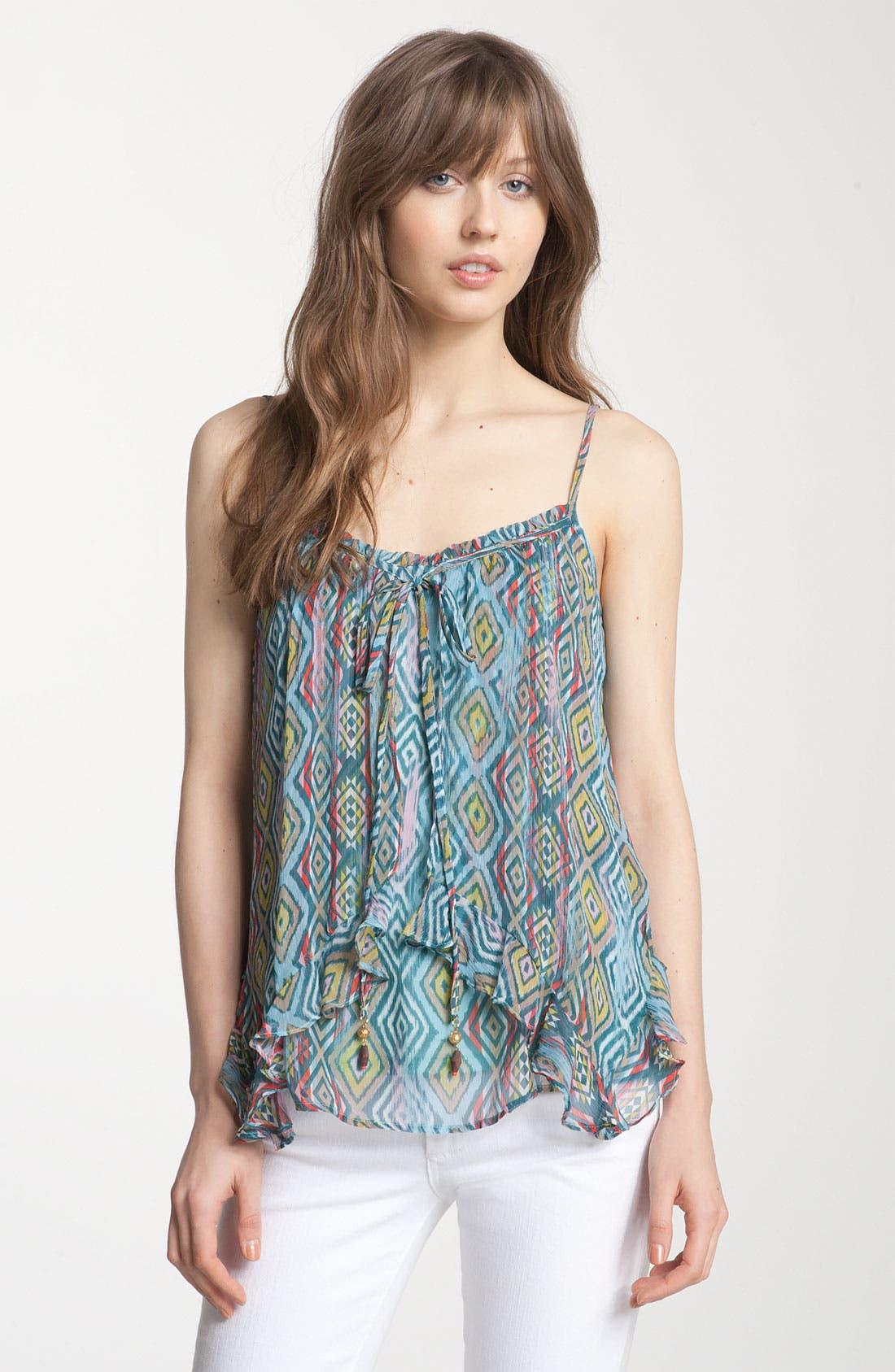Alternate Image 1 Selected - Ella Moss 'Aztec' Print Silk Flyaway Camisole