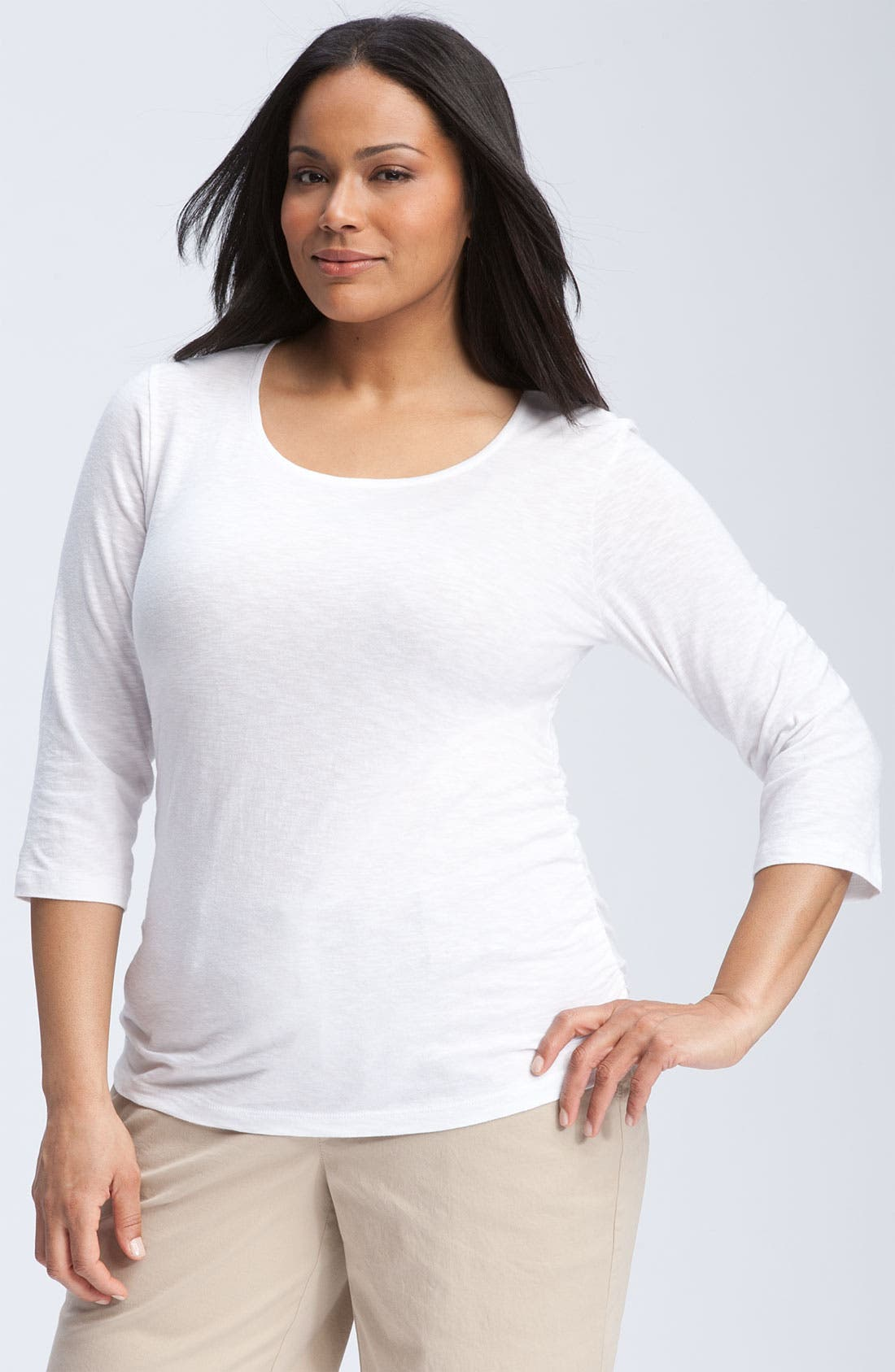 Alternate Image 1 Selected - Sejour Shirred Scoop Neck Tee (Plus)