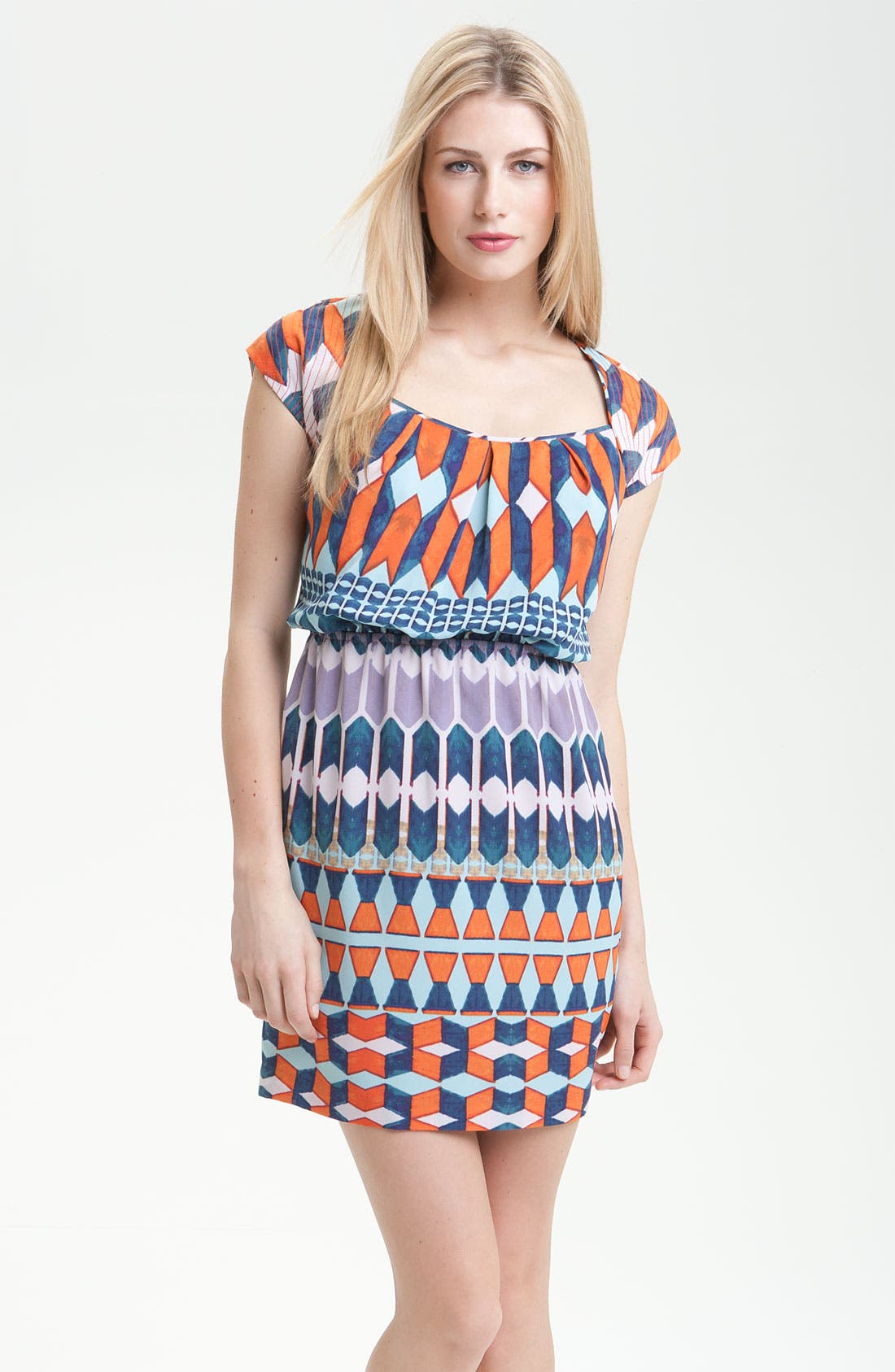 Alternate Image 1 Selected - Jessica Simpson Geo Print Crêpe de Chine Dress