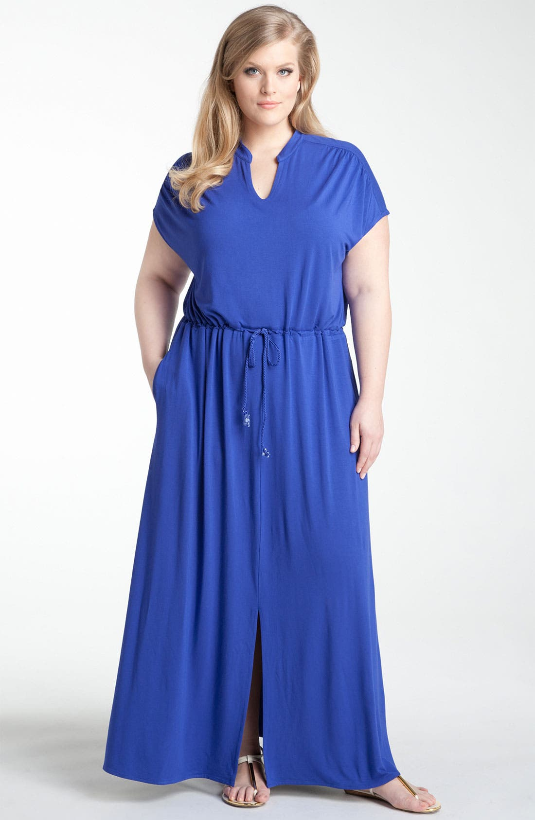 Main Image - Sejour Split Neck Knit Maxi Dress (Plus)