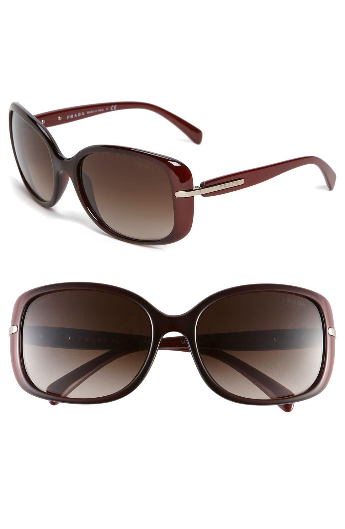 Main Image - Prada 57mm Rectangular Sunglasses