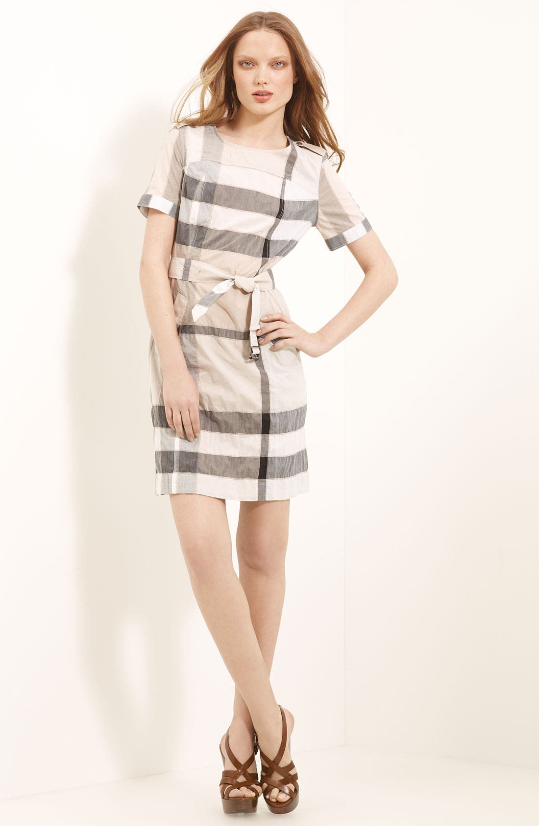 Alternate Image 1 Selected - Burberry Brit Belted Check Pattern Dress