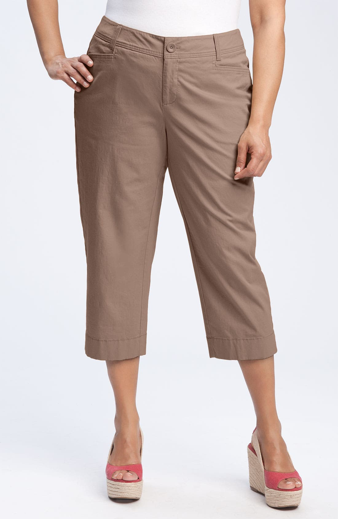 Alternate Image 1 Selected - Sejour 'Megan' Crop Pants (Plus Size)