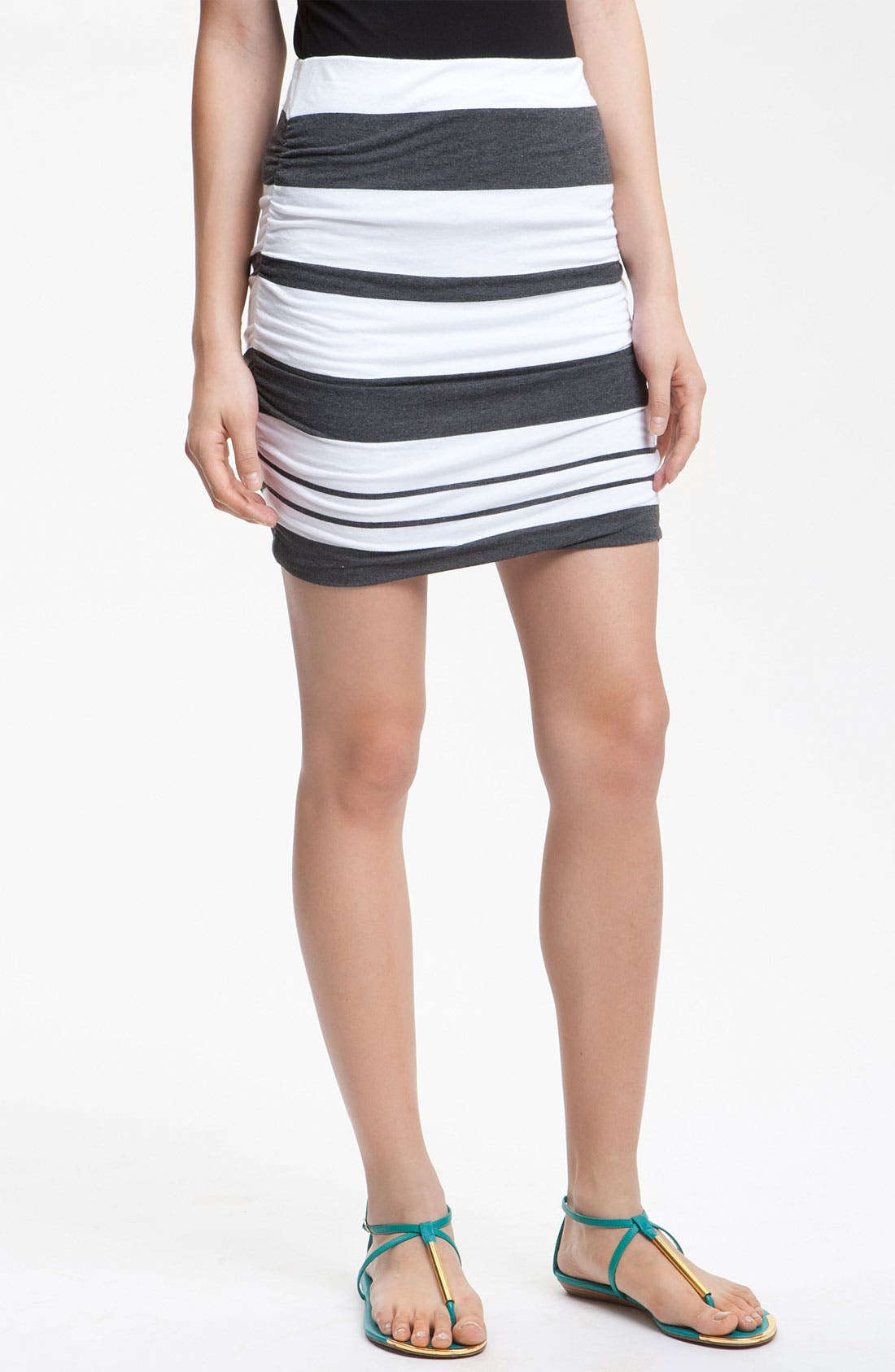Alternate Image 1 Selected - James Perse Ruched Stripe Miniskirt