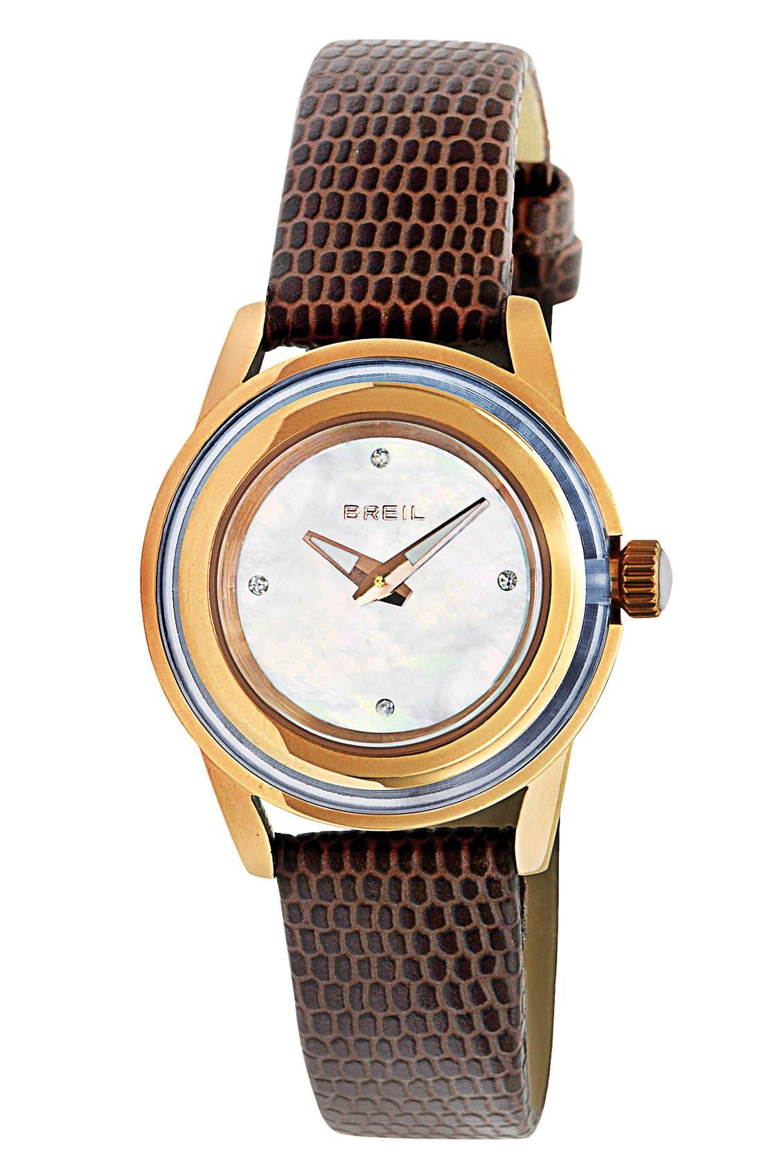 Main Image - Breil 'Orchestra' Lizardskin Strap Watch