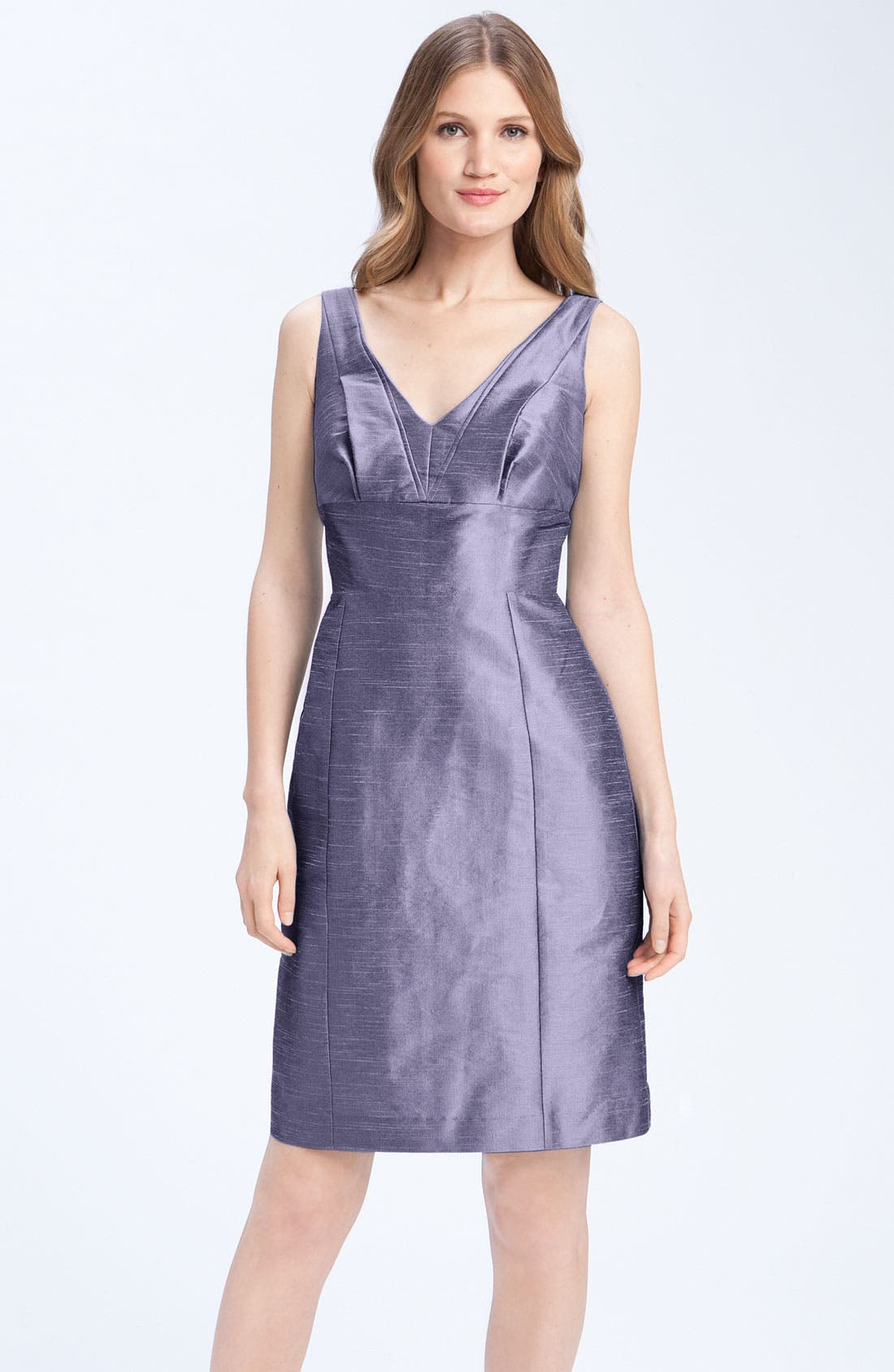 Alternate Image 1 Selected - Anna Elyse Bridesmaids Shantung V-Neck Dress