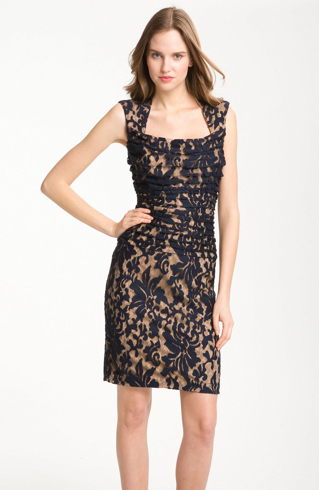 Alternate Image 1 Selected - Tadashi Shoji Pleated Lace Dress