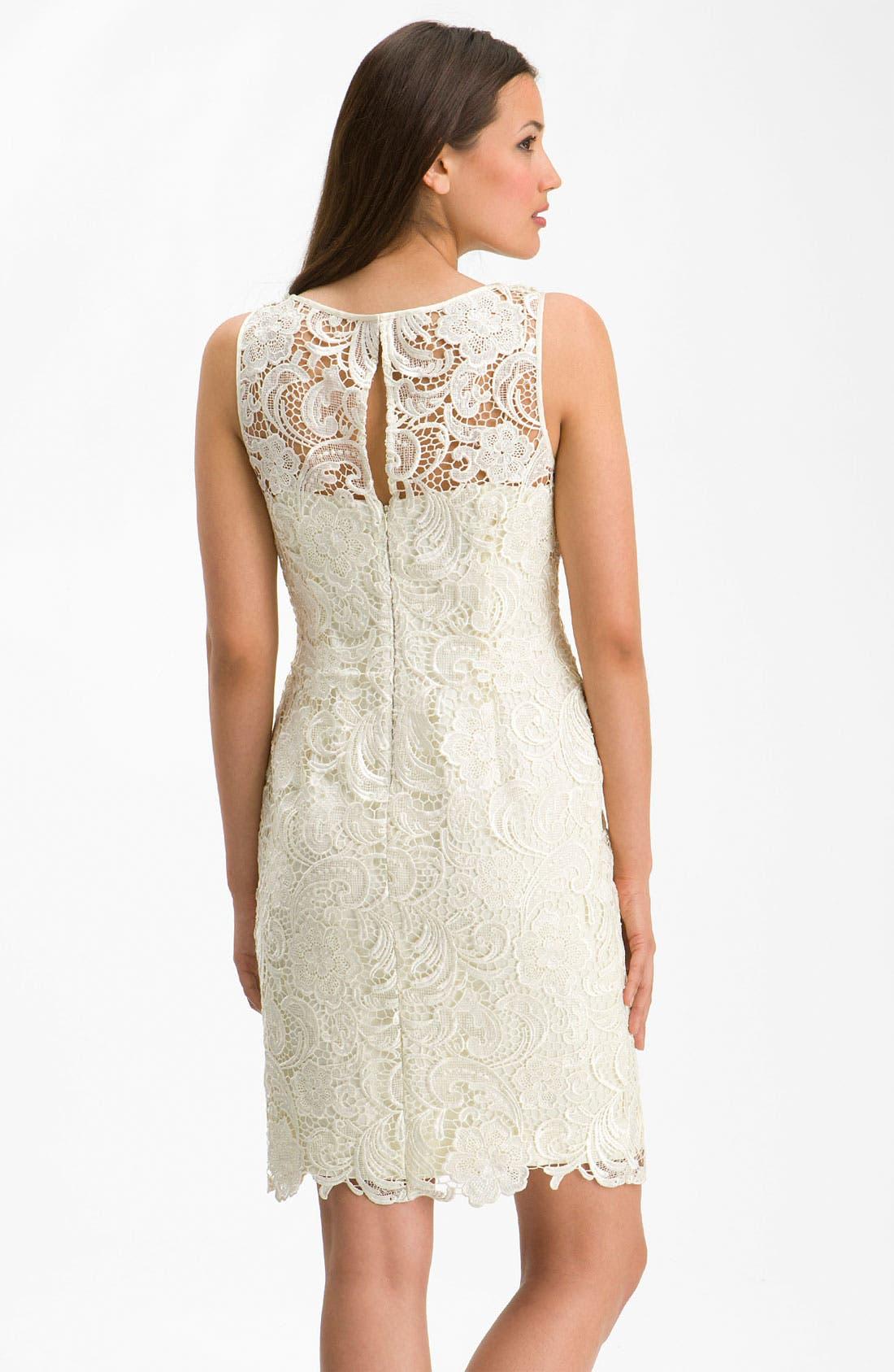 Alternate Image 2  - Adrianna Papell Illusion Neck Lace Sheath Dress