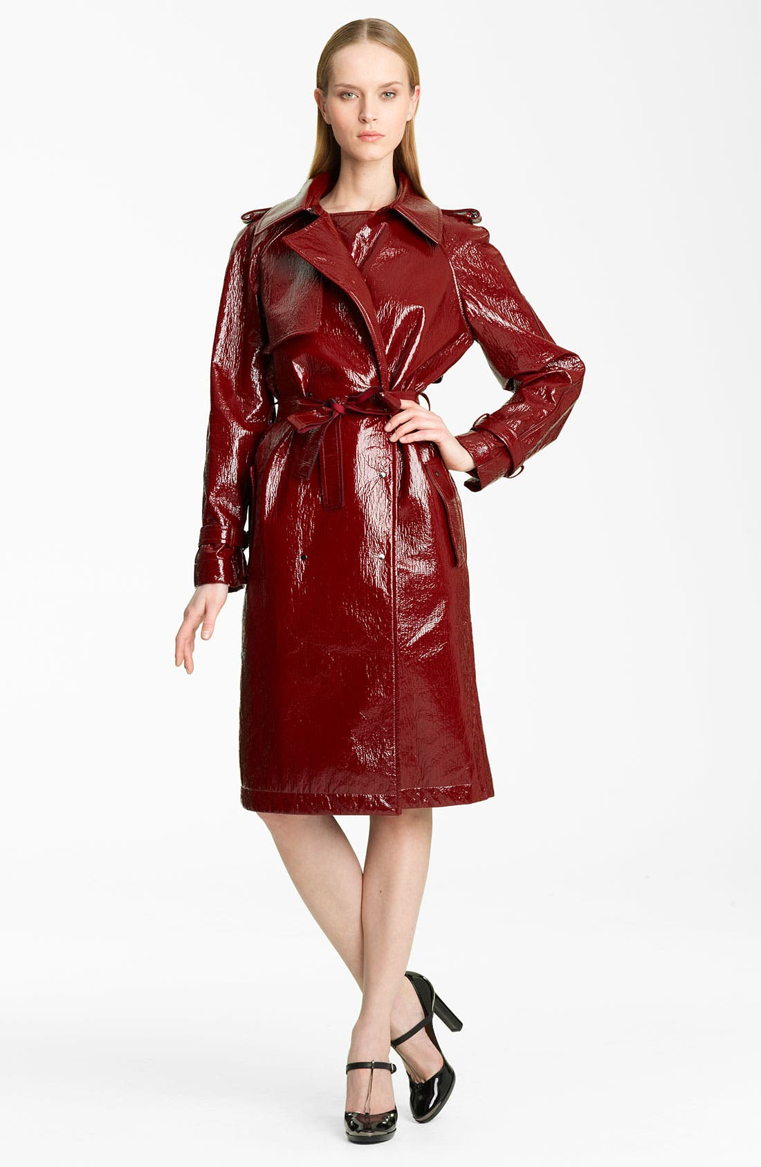 Alternate Image 1 Selected - Lanvin Belted Crackle Patent Trench Coat