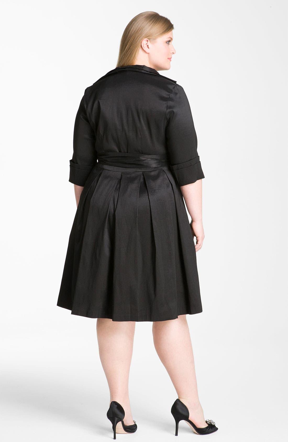Alternate Image 2  - Donna Ricco Rhinestone Button Taffeta Shirtdress (Plus Size)