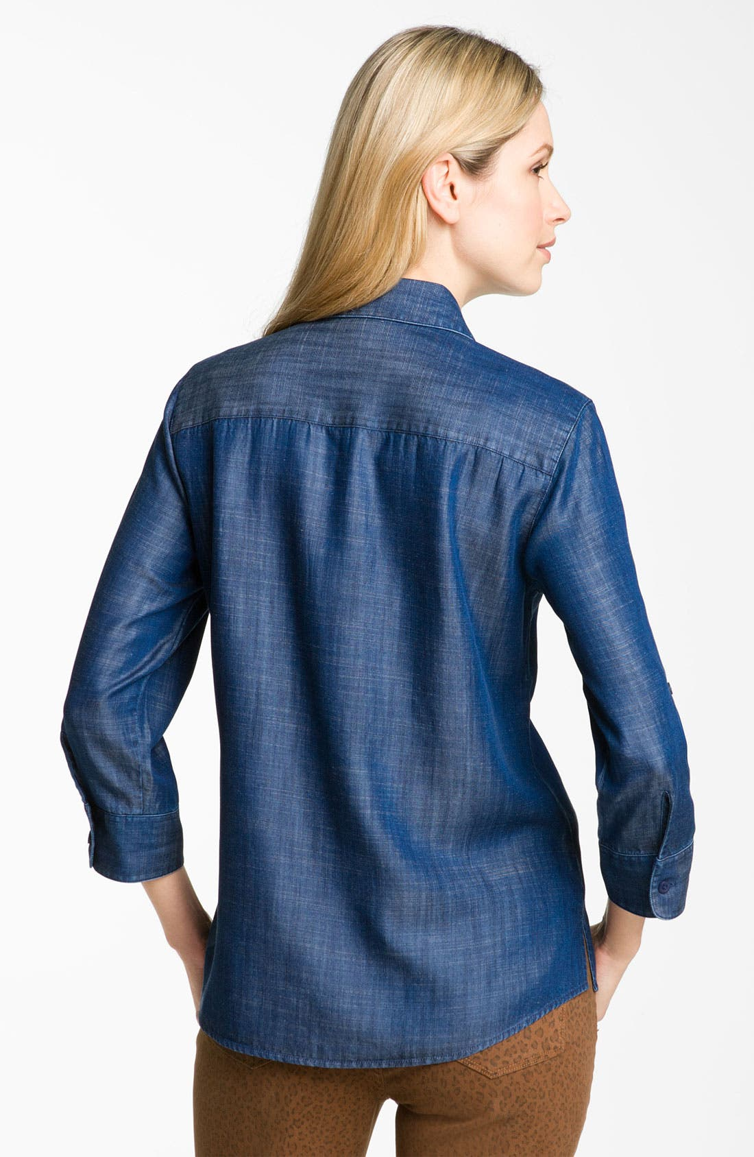 Alternate Image 2  - Foxcroft Roll Sleeve Tencel® Shirt