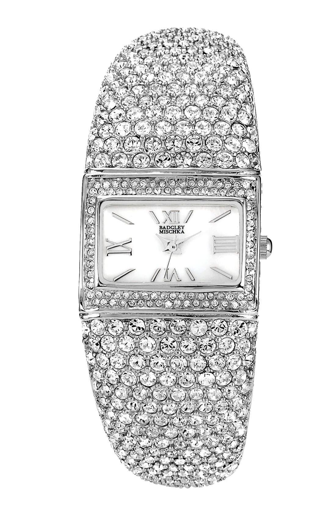 Alternate Image 1 Selected - Badgley Mischka Square Crystal Bangle Watch