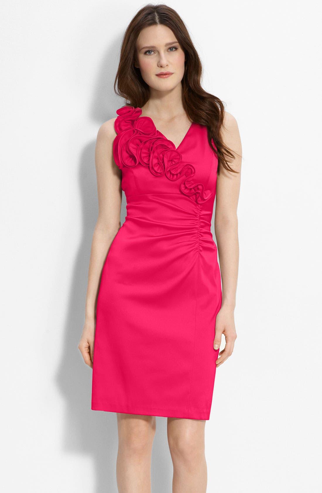 Main Image - Donna Ricco Ruffle Trim Charmeuse Sheath Dress