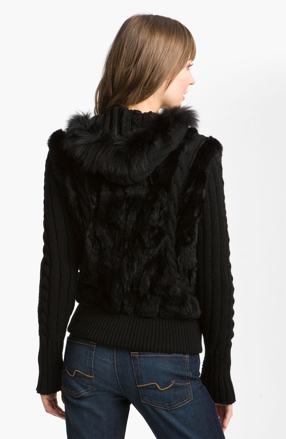 Alternate Image 2  - Laundry by Shelli Segal Genuine Fur Trim Hooded Knit Jacket