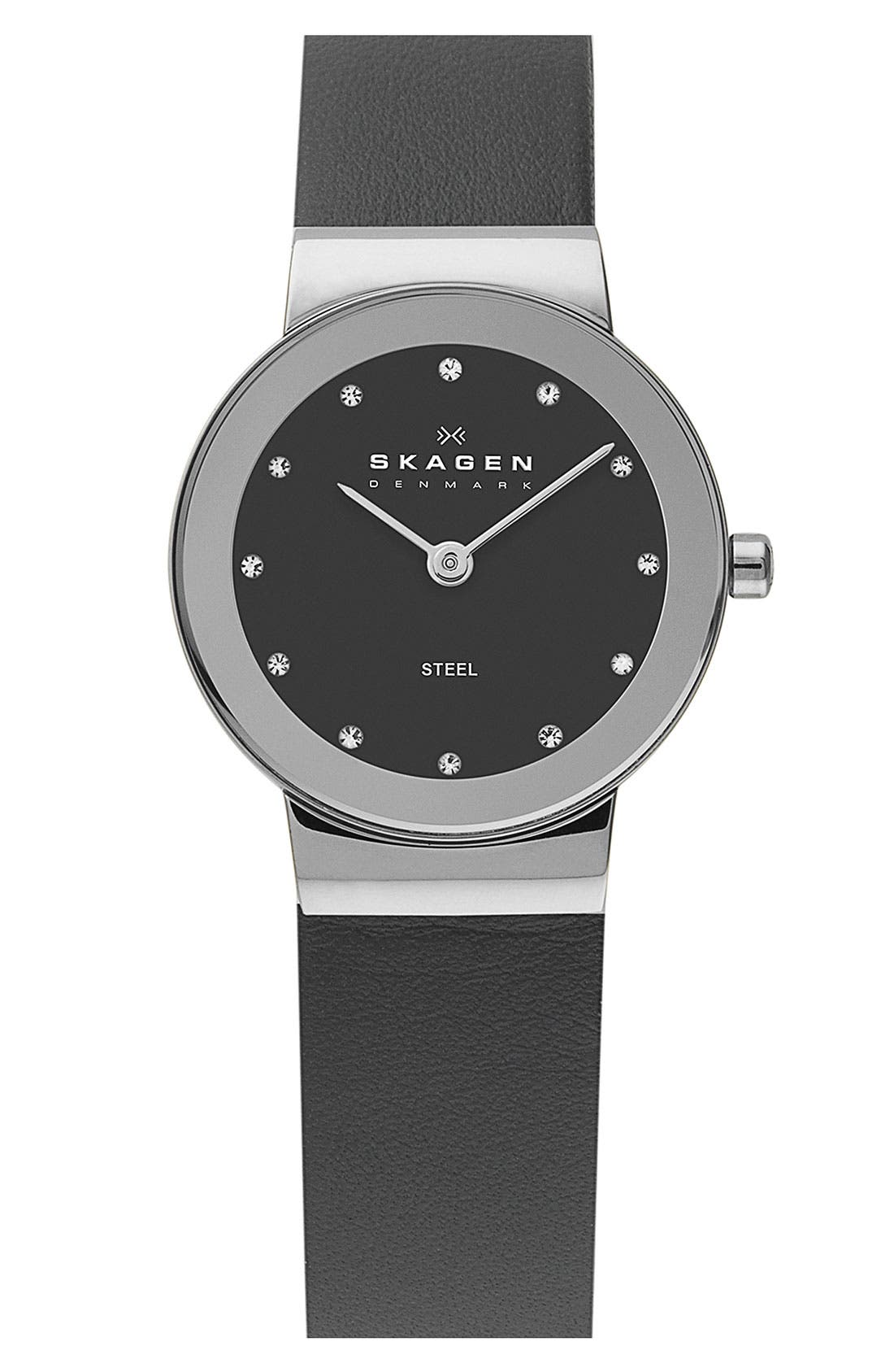 Main Image - Skagen Round Leather Strap Watch