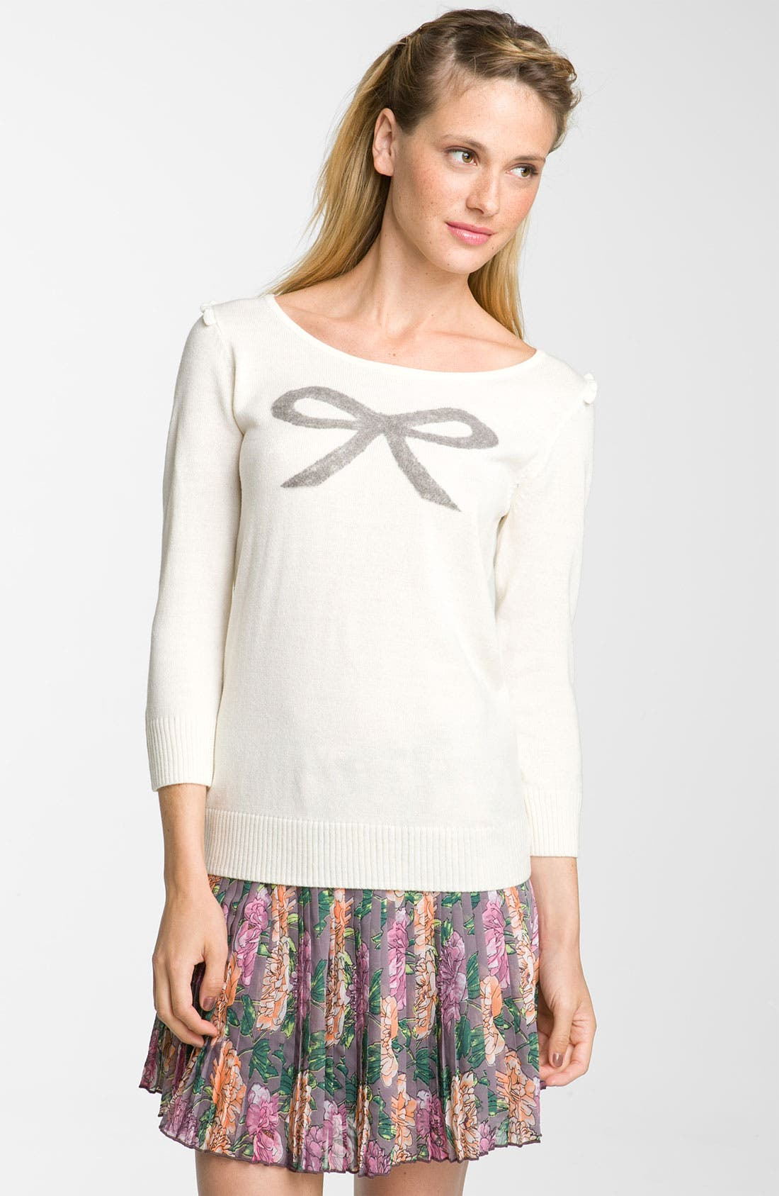 Alternate Image 1 Selected - Frenchi® Bow Sweater (Juniors)
