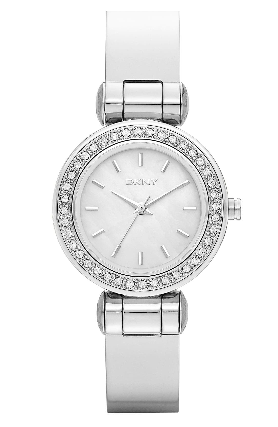 Alternate Image 1 Selected - DKNY 'Glitz' Small Round Dial Bangle Watch
