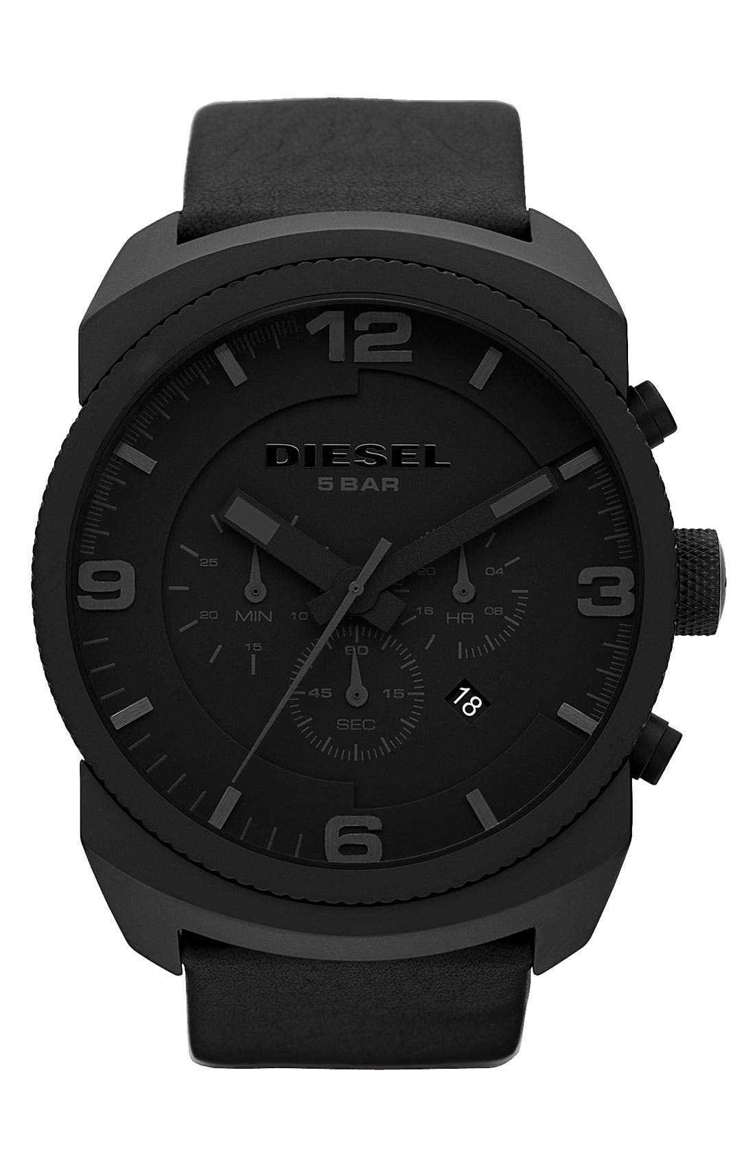 Alternate Image 1 Selected - DIESEL® 'F Stop' Chronograph Leather Strap Watch, 47mm