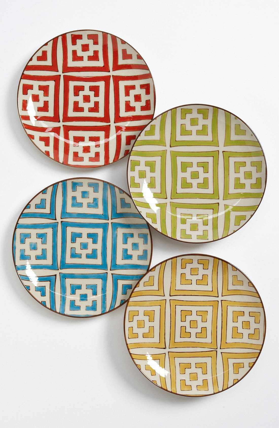 Alternate Image 1 Selected - Hand-Painted 'Moroccan' Dessert Plates (Set of 4)