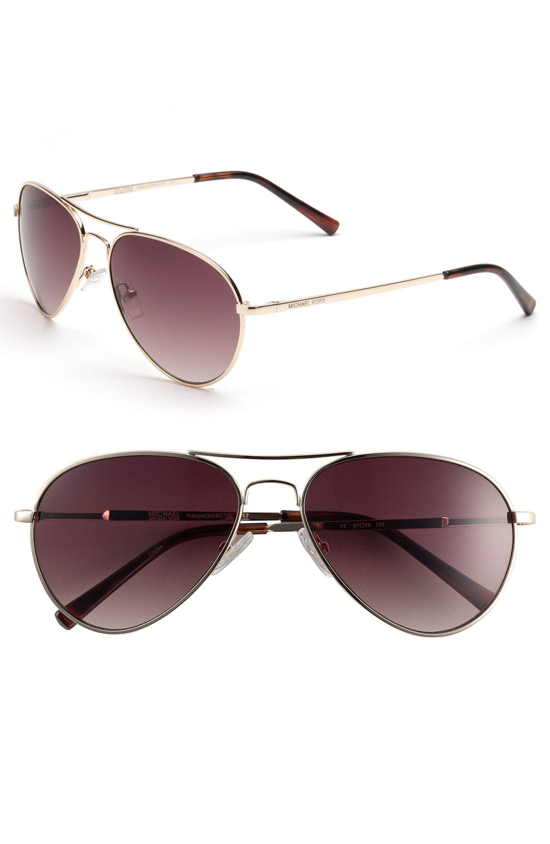 Main Image - MICHAEL Michael Kors 57mm Aviator Sunglasses