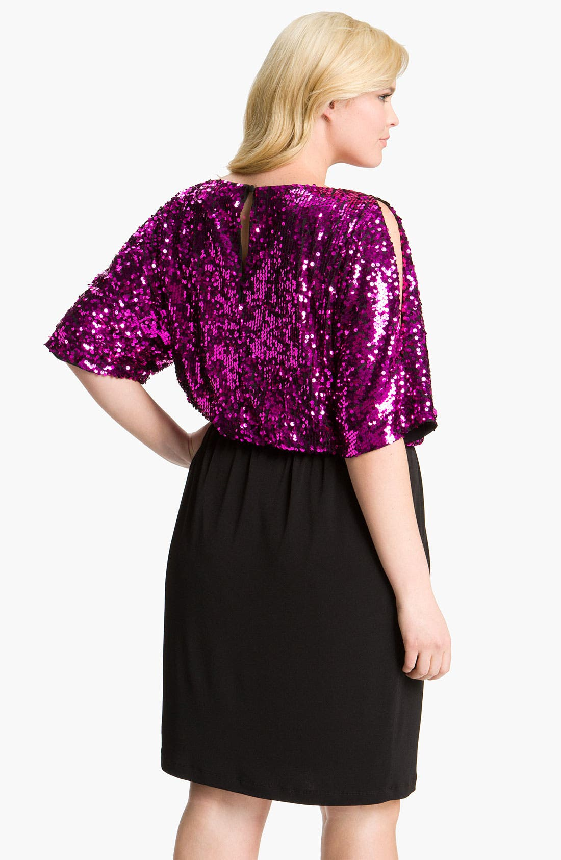 Alternate Image 2  - Donna Ricco Sequin Blouson Dress (Plus)