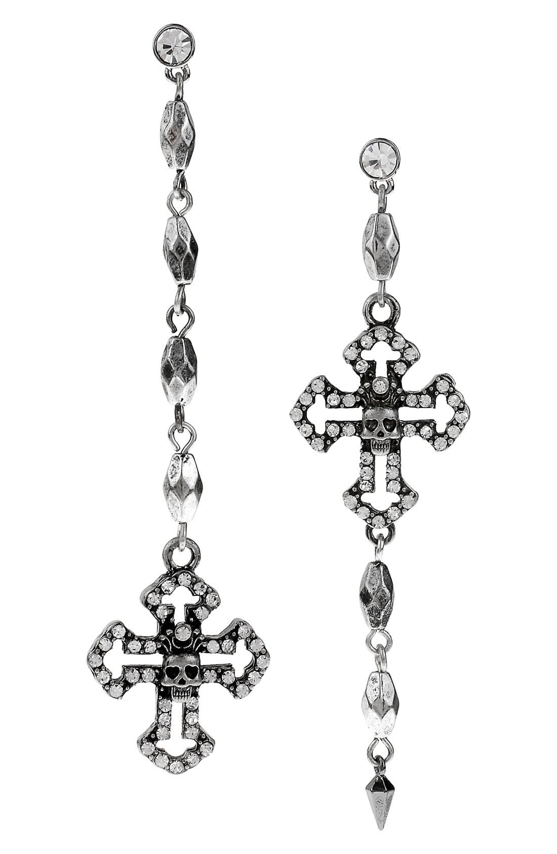 Alternate Image 1 Selected - Betsey Johnson 'Black Label' Cross & Bead Linear Earrings