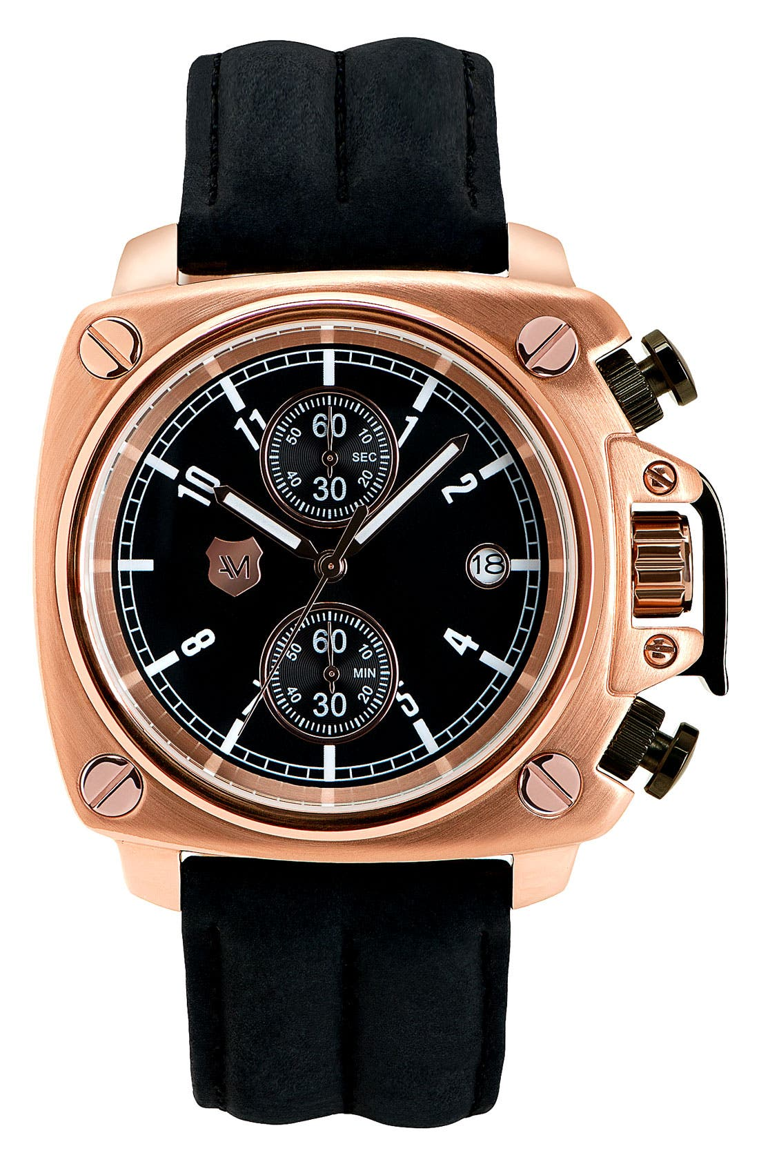 Alternate Image 1 Selected - Andrew Marc Watches 'Heritage Cargo' Leather Strap Watch