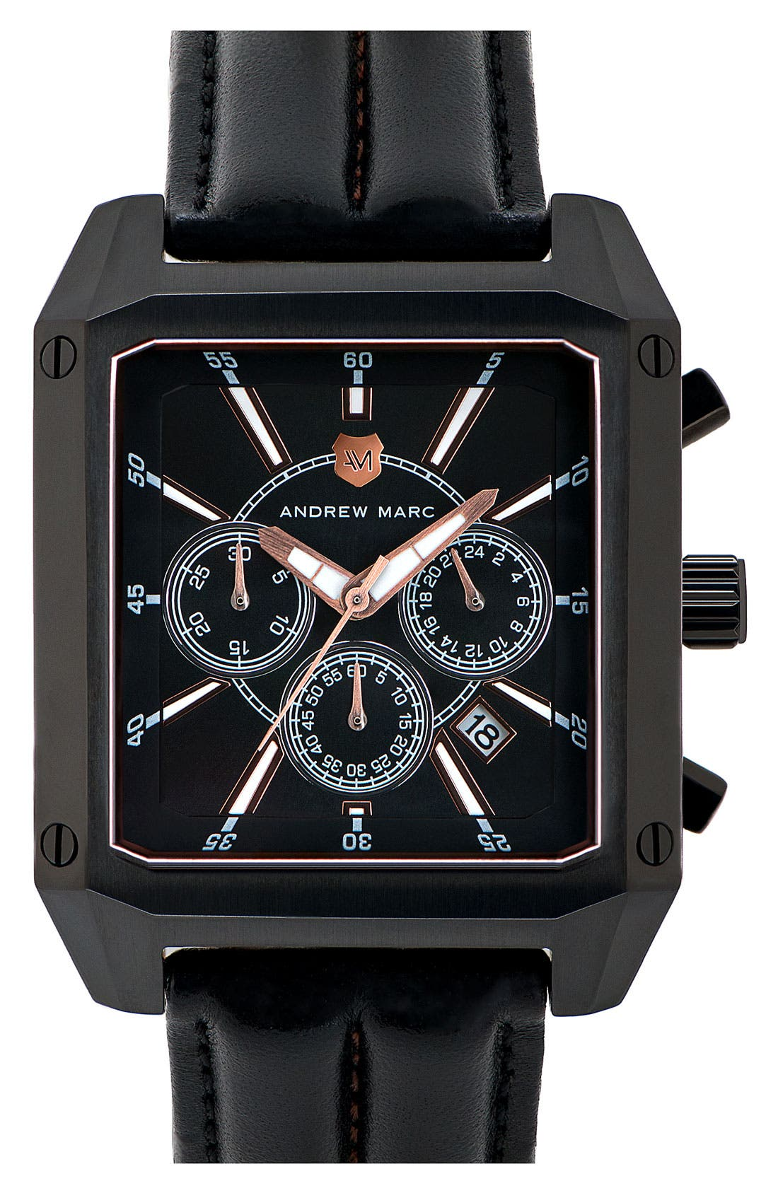 Alternate Image 1 Selected - Andrew Marc Watches 'Club Patrol' Chronograph Leather Strap Watch