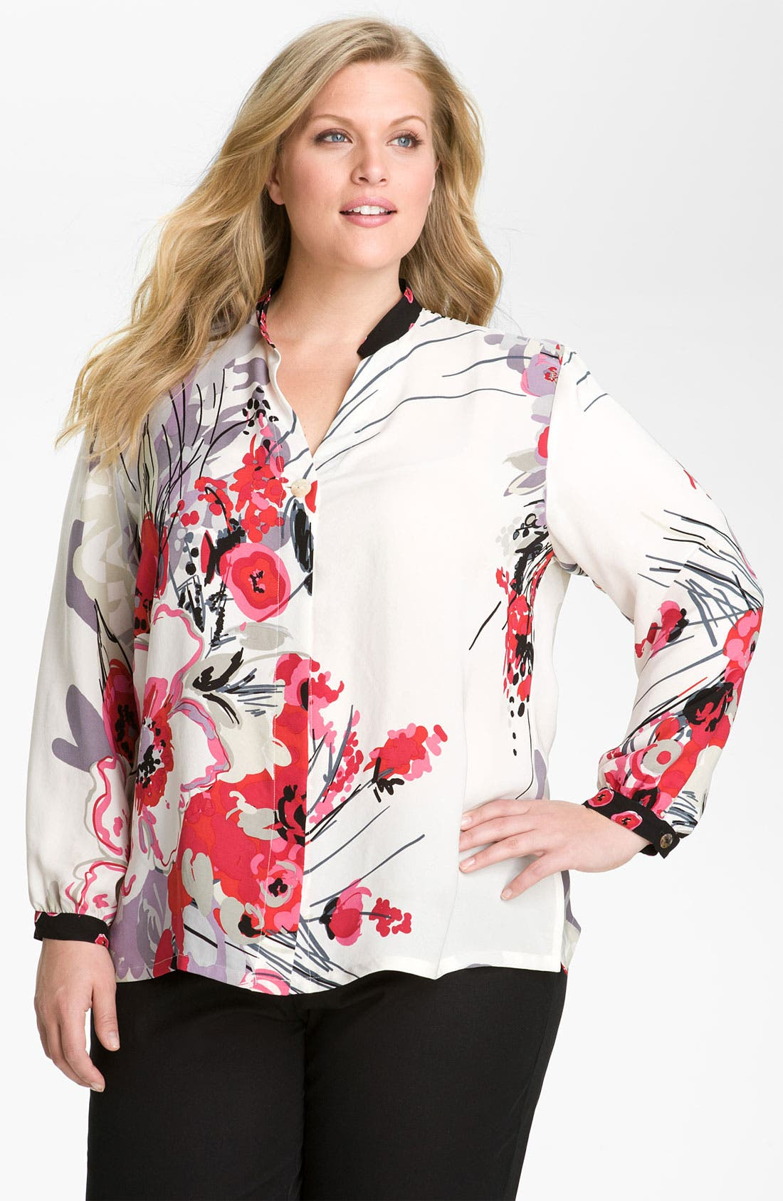 Alternate Image 1 Selected - Citron Floral Silk Tunic (Plus)