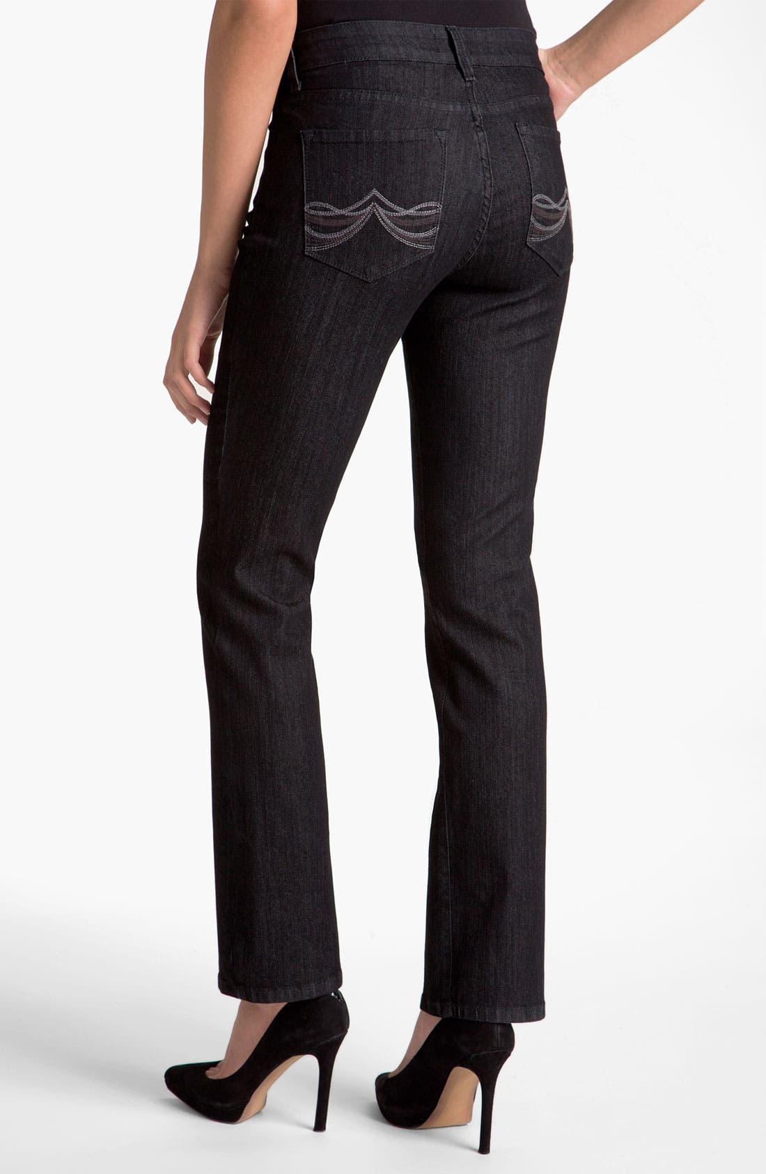 Alternate Image 2  - NYDJ Embroidered Pocket Jeans (Petite)