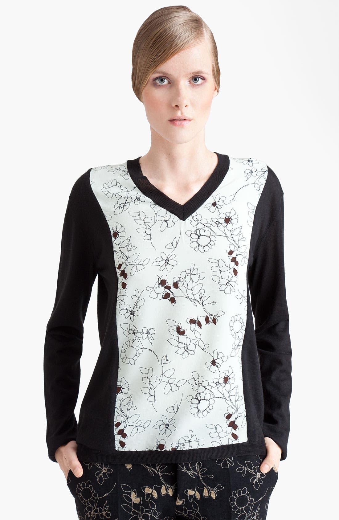 Alternate Image 1 Selected - Marni Floral Print Panel Sweater
