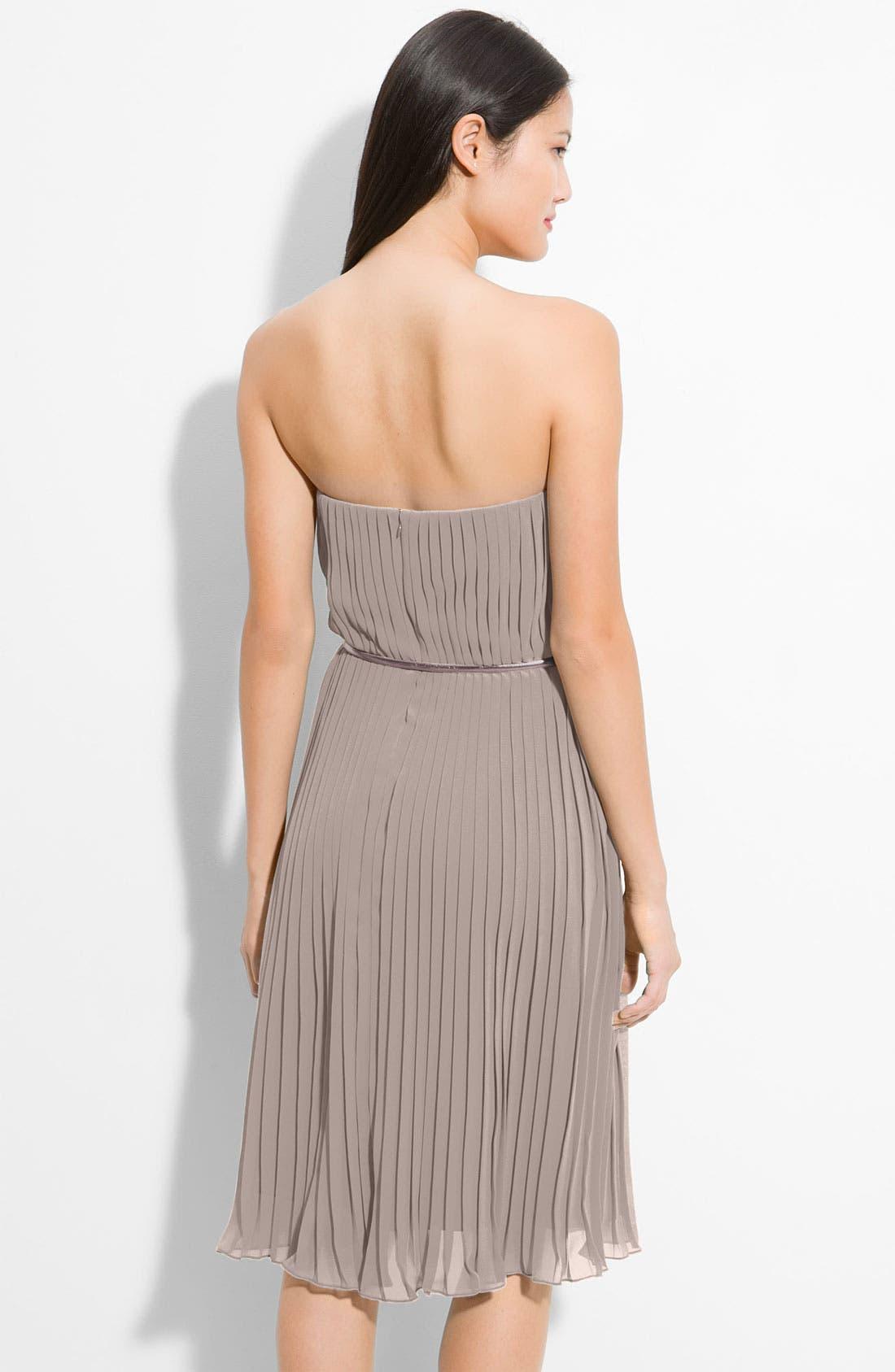 Alternate Image 2  - Donna Morgan Belted Pleated Chiffon Dress