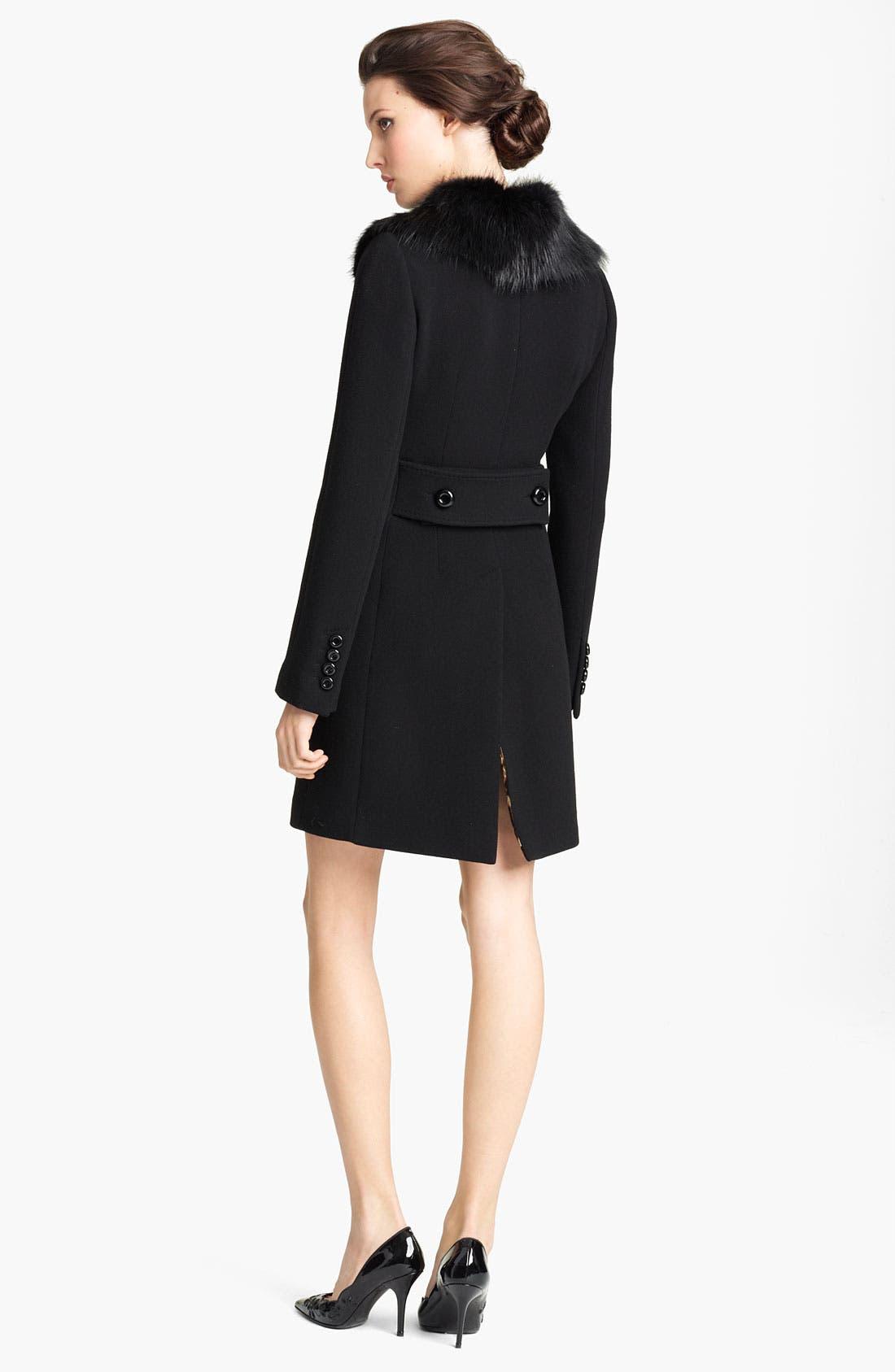 Alternate Image 2  - Dolce&Gabbana Genuine Fur Collar Wool Blend Coat