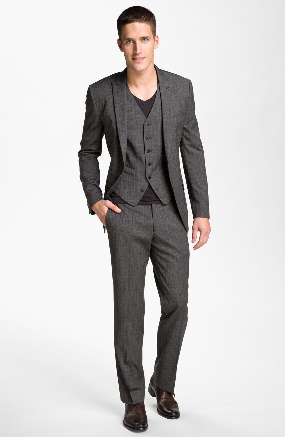 Alternate Image 4  - John Varvatos Star USA 'Petro' Plaid Flat Front Trousers