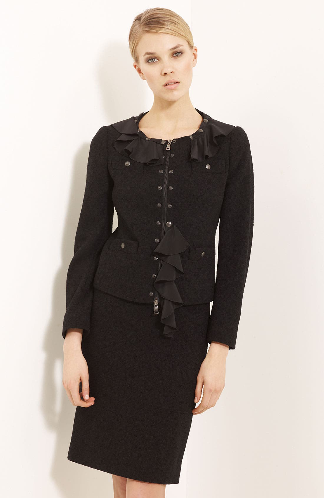 Alternate Image 1 Selected - Moschino Cheap & Chic Detachable Ruffle Trim Jacket