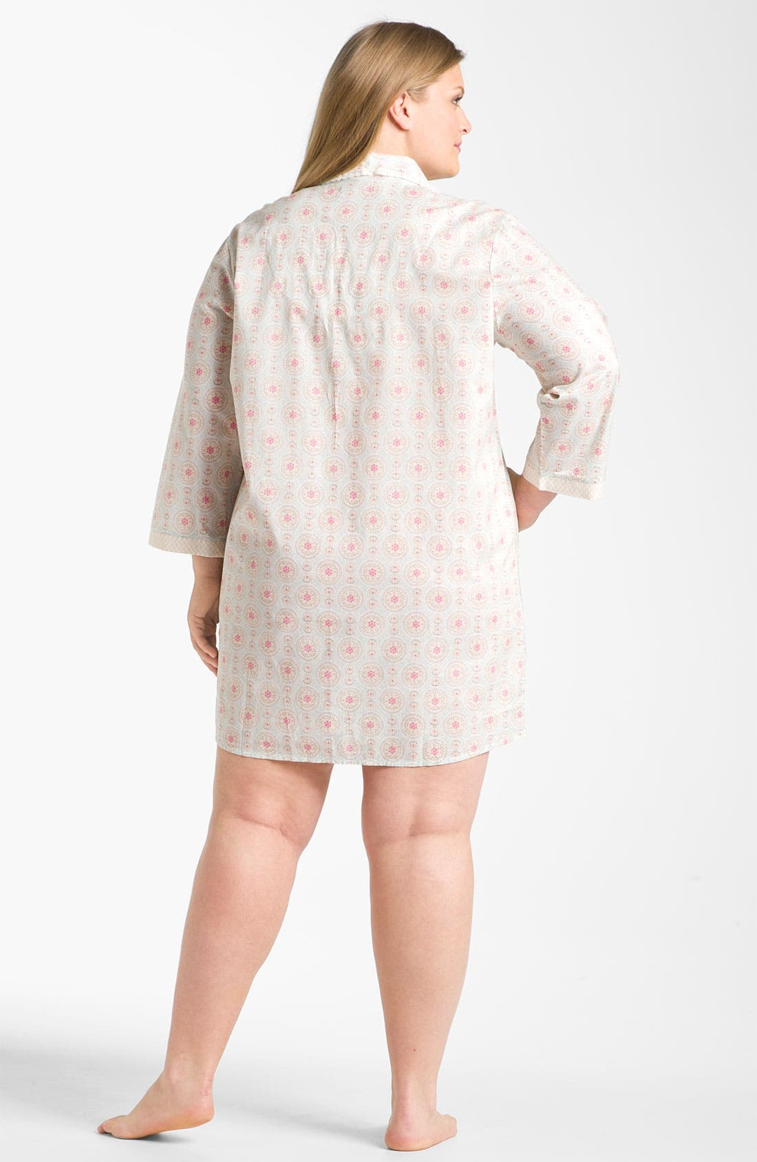 Alternate Image 2  - Carole Hochman 'Wood Cut Floral' Nightshirt (Plus)