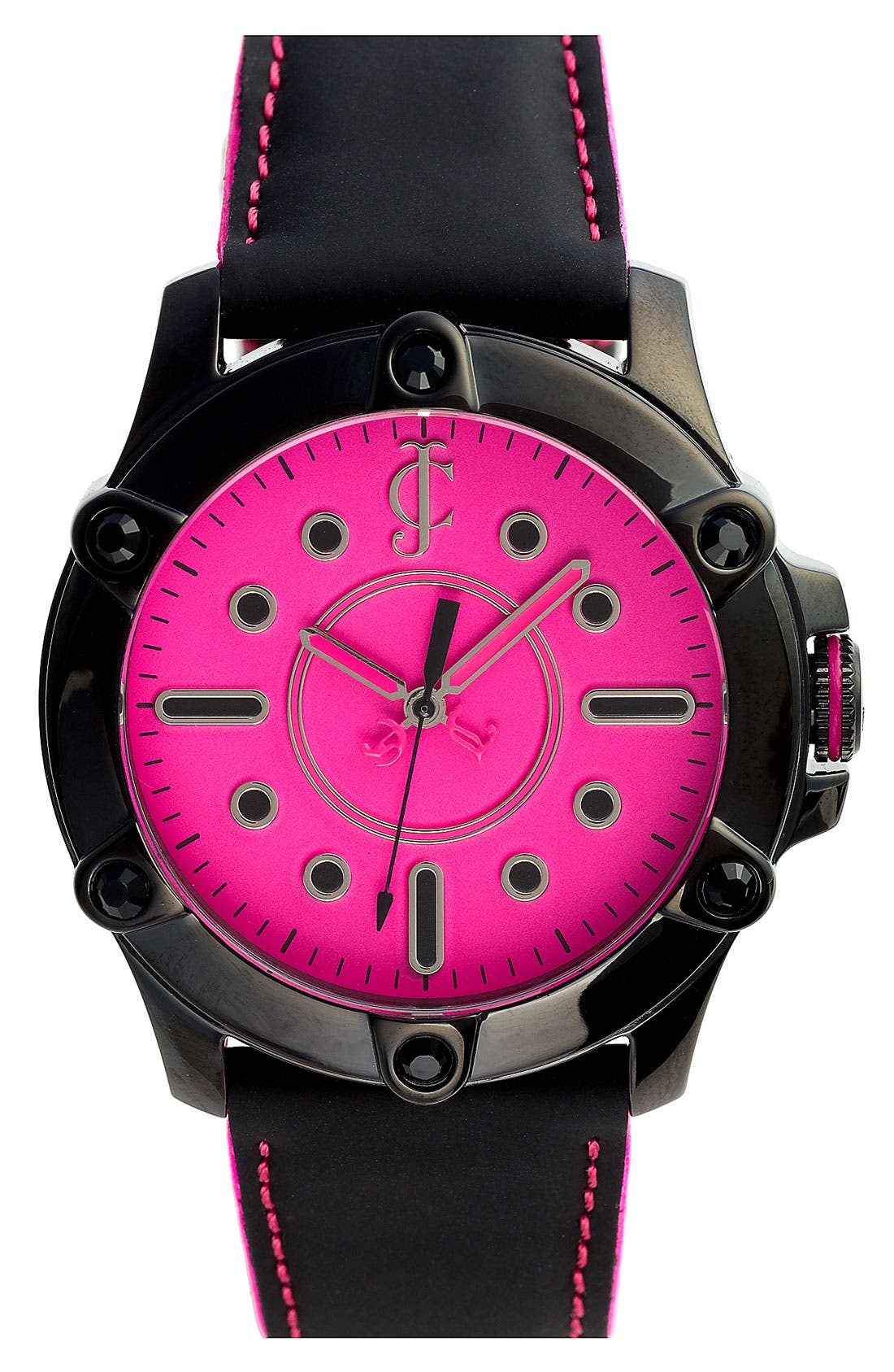 Main Image - Juicy Couture 'Surfside' Round Leather Strap Watch