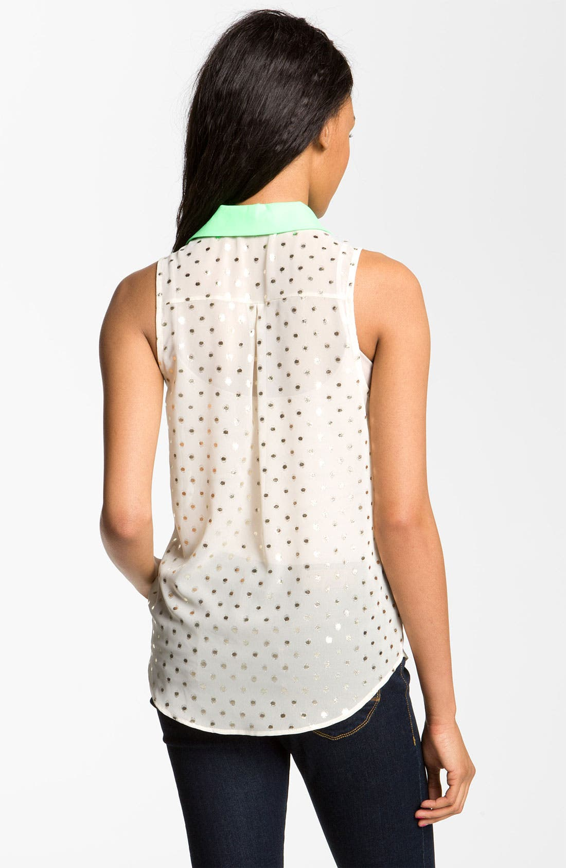 Alternate Image 2  - Lush Foil Dot Sleeveless Shirt (Juniors)